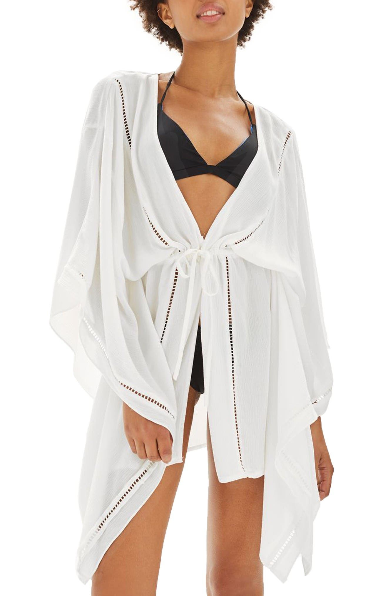 Ladder Stitch Cover-Up Caftan,                             Main thumbnail 1, color,                             White