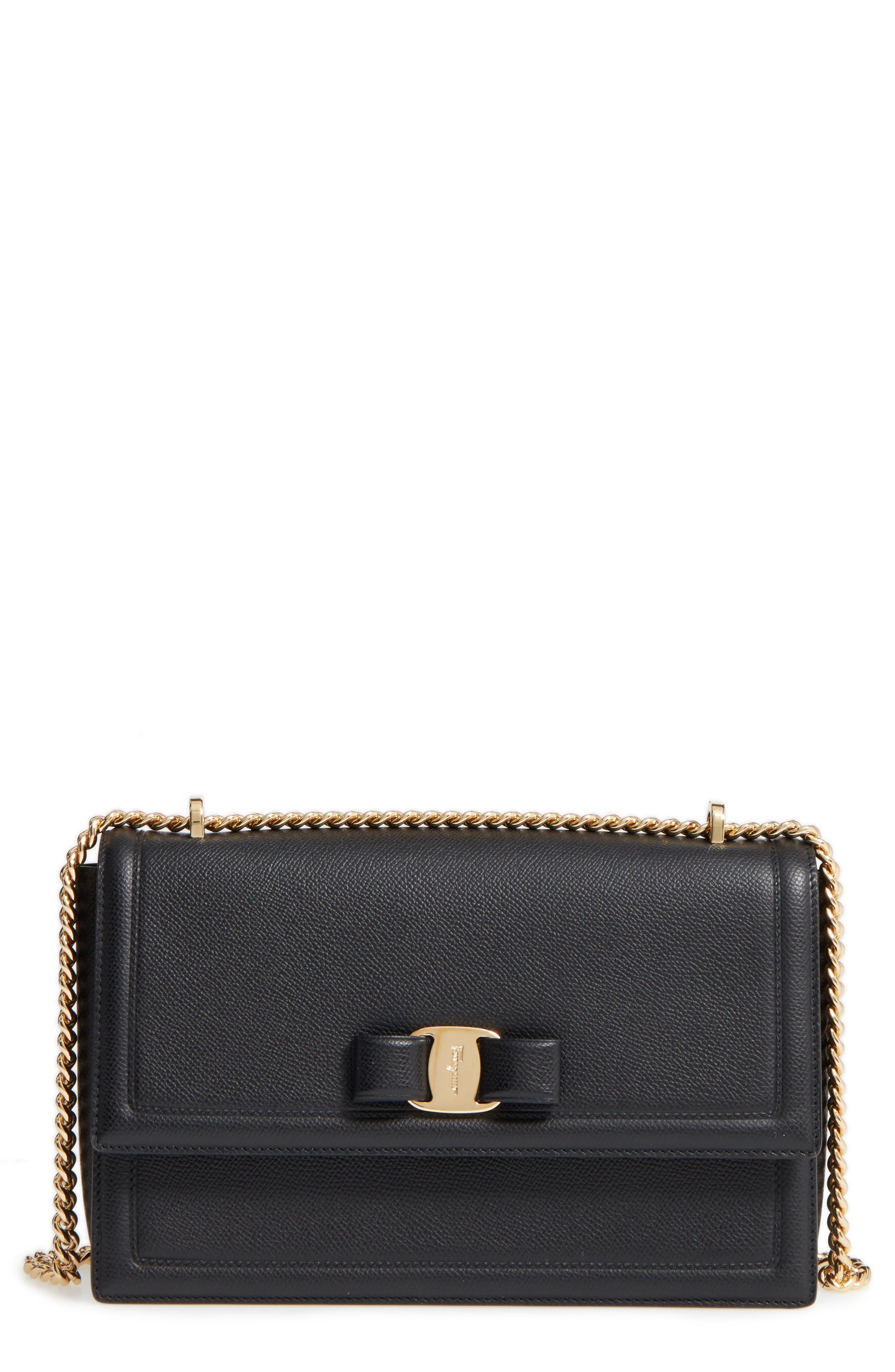 Salvatore Ferragamo Medium Grained Leather Bow Shoulder Bag
