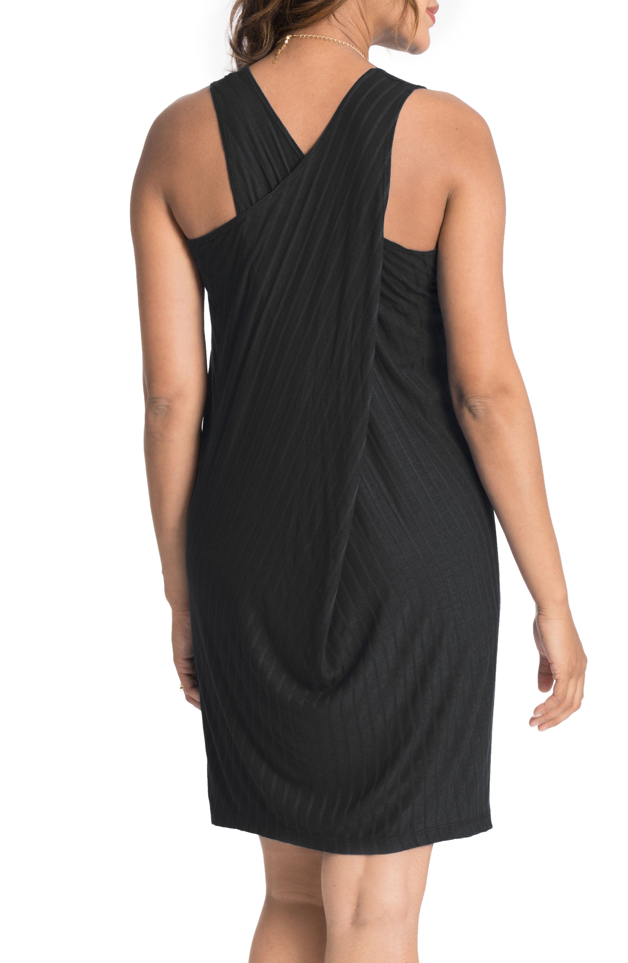 Convertible Maternity Shift Dress,                             Alternate thumbnail 2, color,                             Black