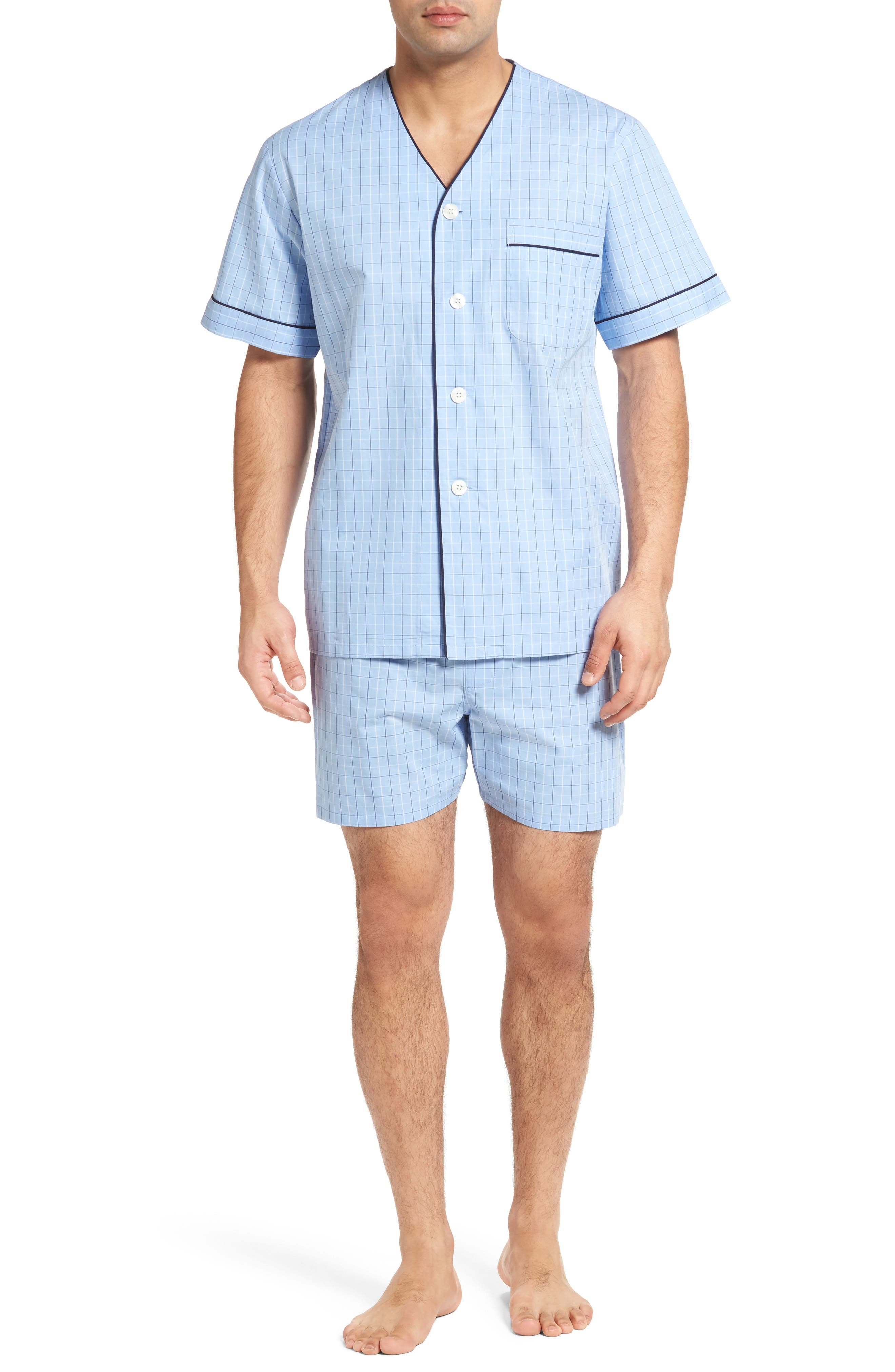 Cotton Short Pajamas,                         Main,                         color, Light Blue Check