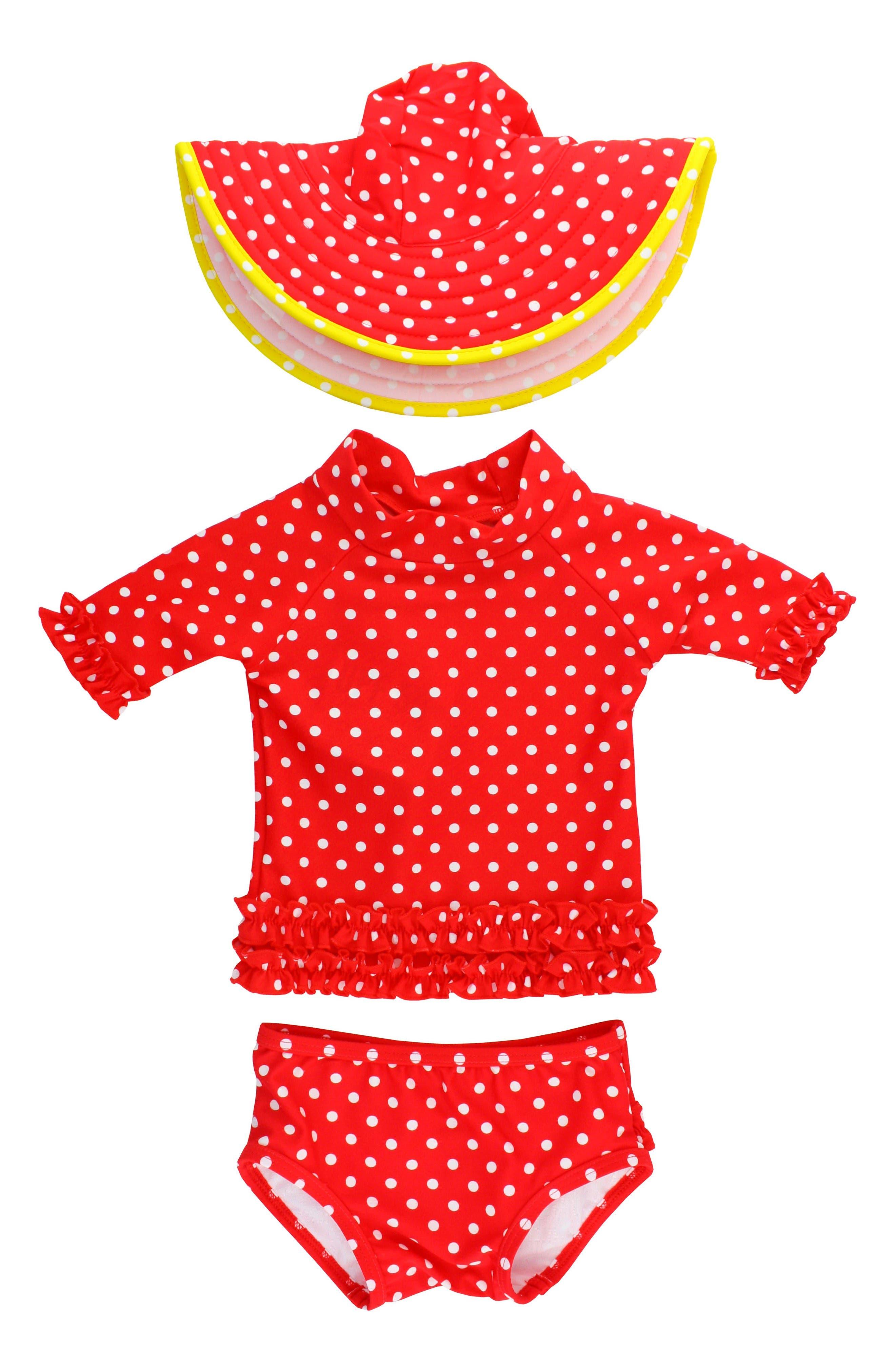 Main Image - RuffleButts Two-Piece Rashguard Swimsuit & Hat Set (Toddler Girls)