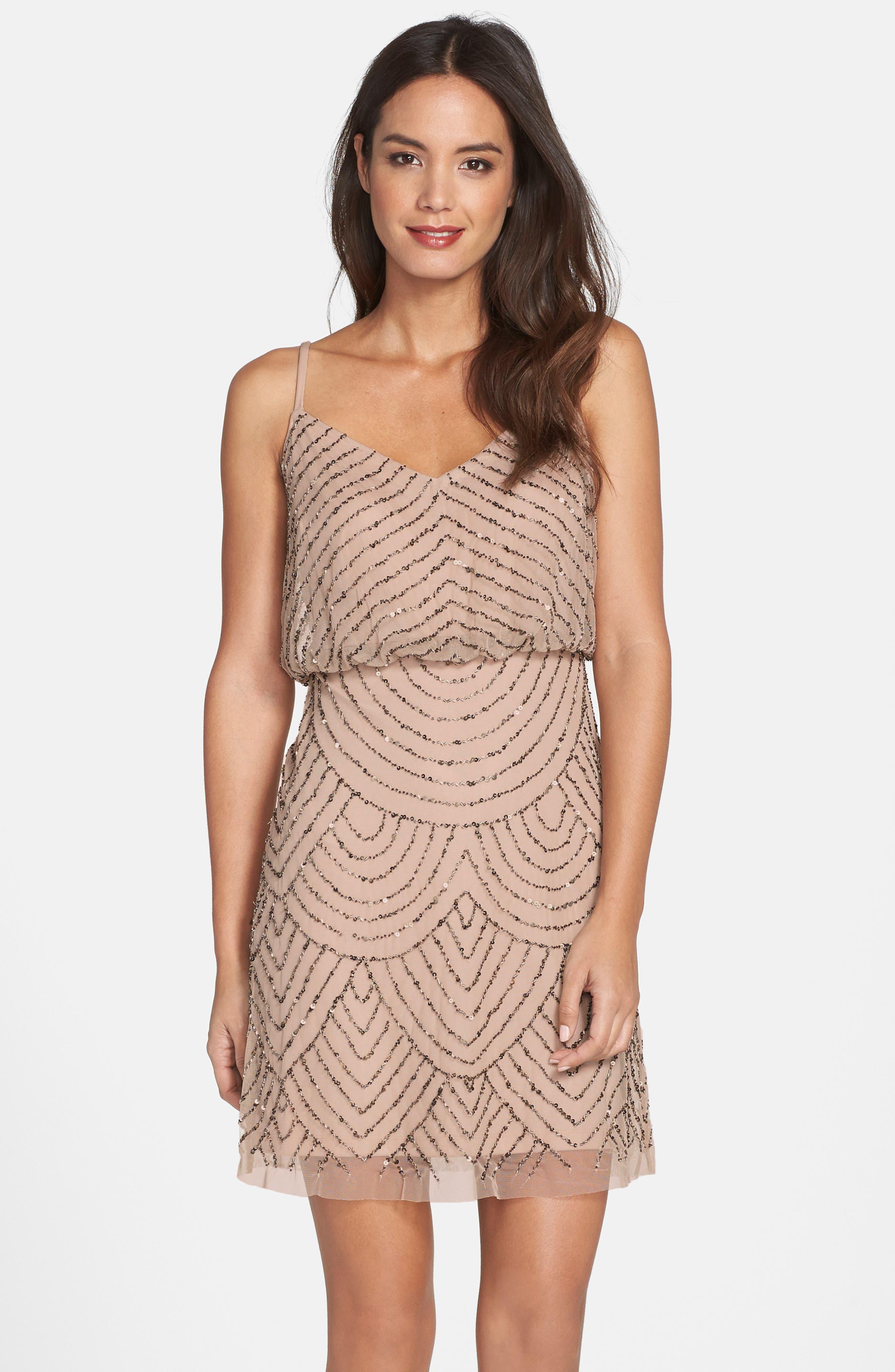 Sequin Mesh Blouson Dress,                             Main thumbnail 1, color,                             Taupe/ Pink