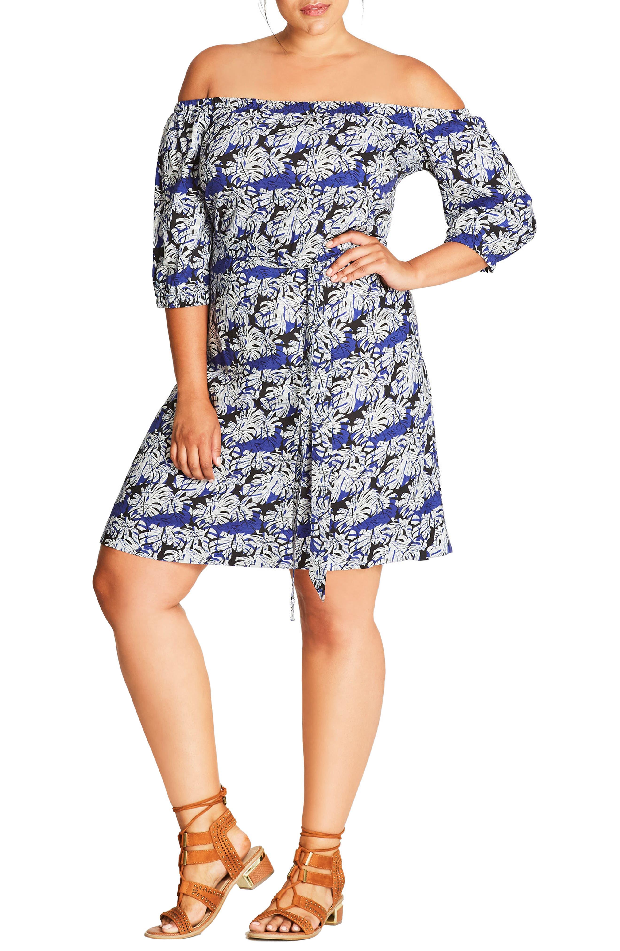 Blue Palm Off the Shoulder Shift Dress,                         Main,                         color, Blue Palm