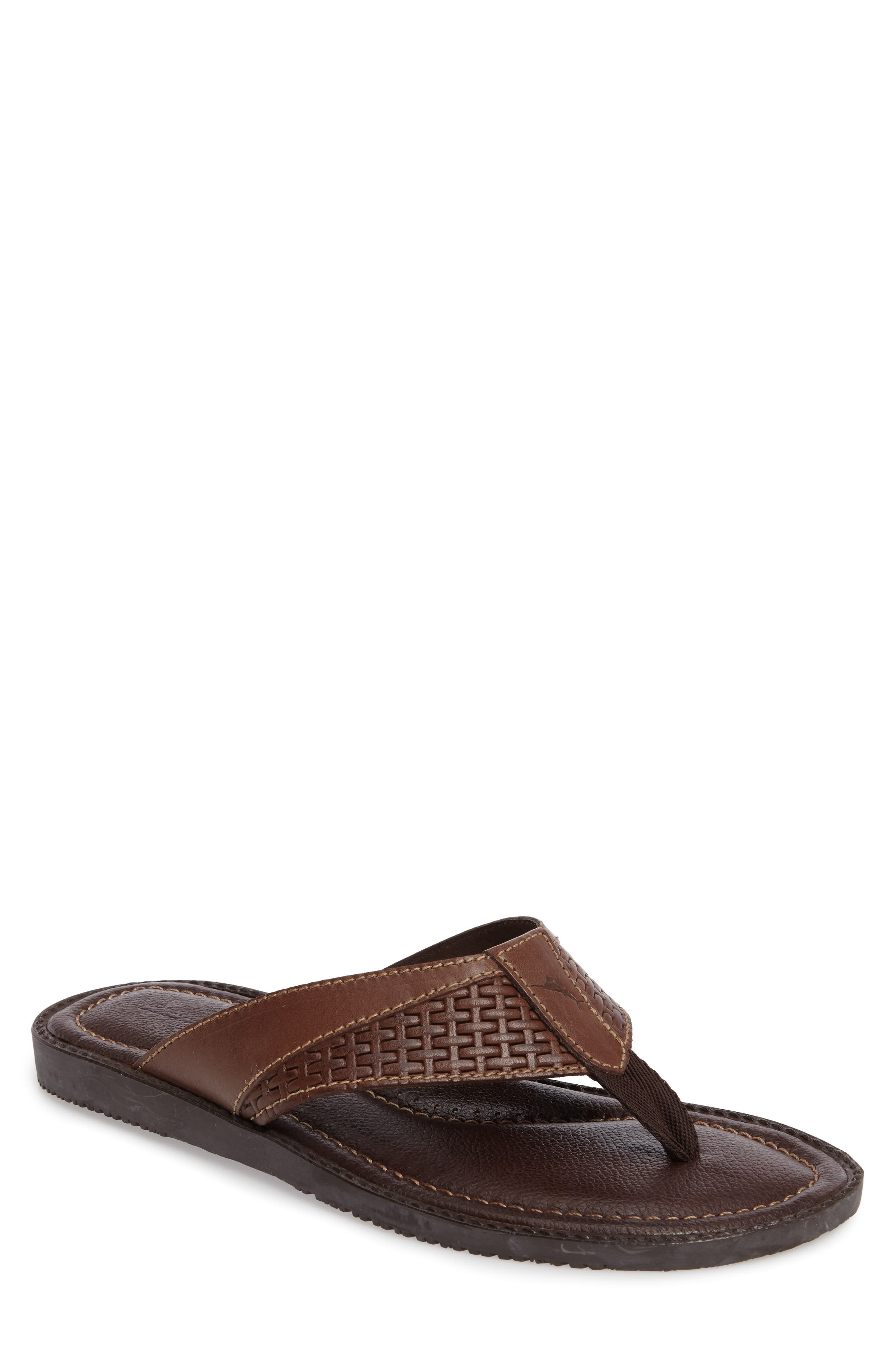 Anchors Ashore Flip Flop,                         Main,                         color, Dark Brown Leather