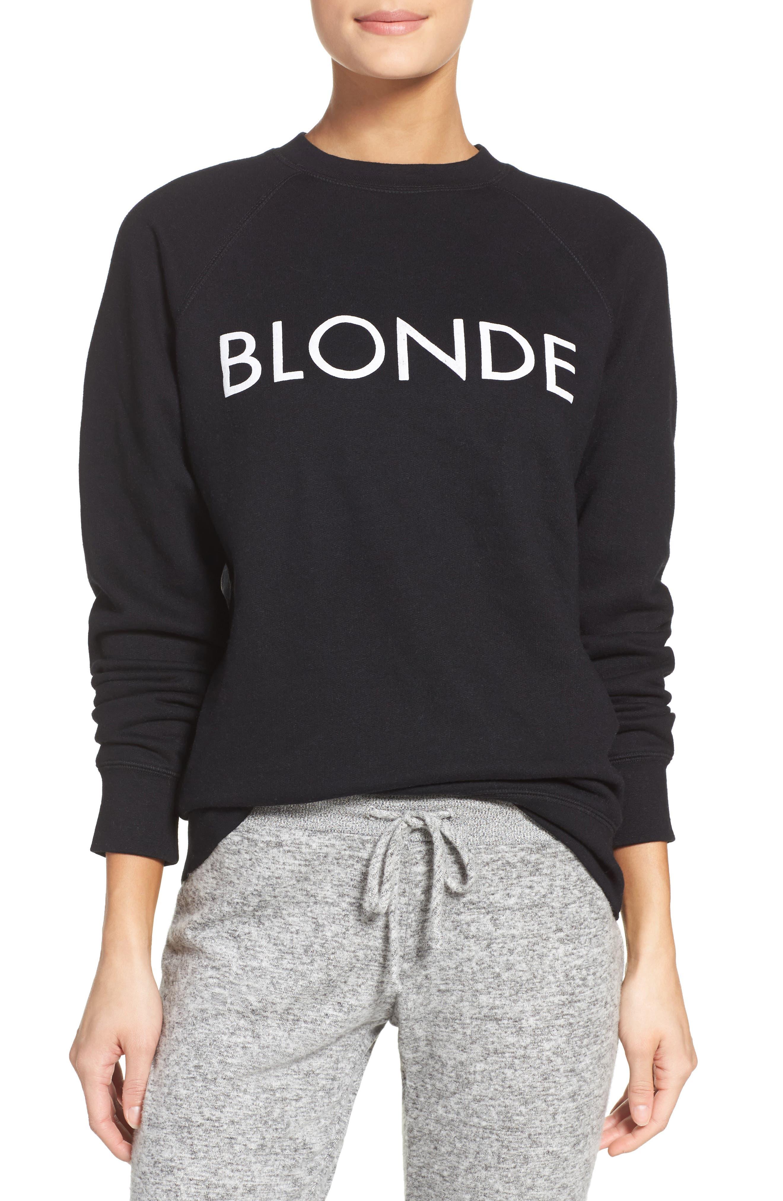 Blonde Crewneck Sweatshirt,                         Main,                         color, Black