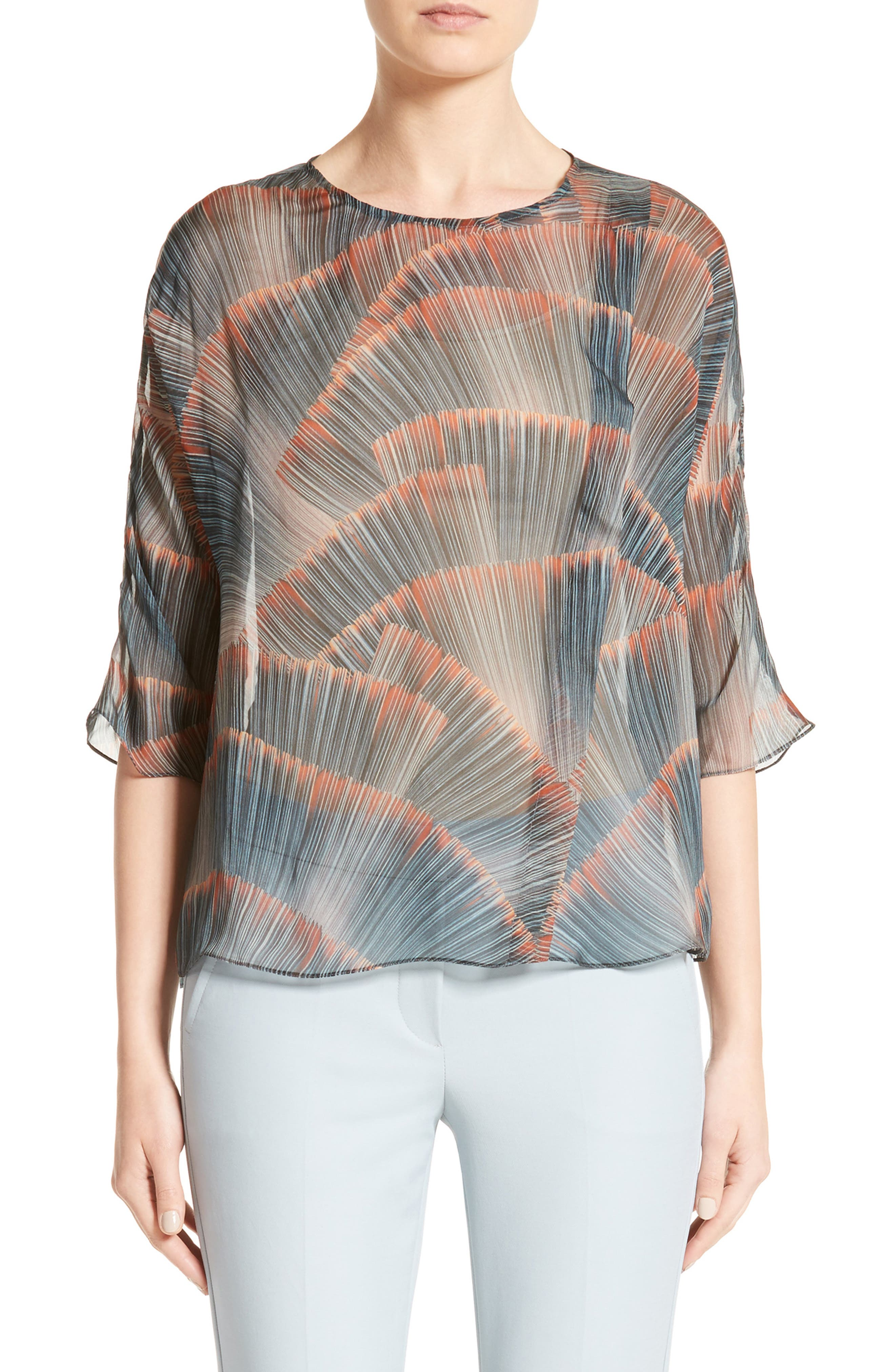 Feather Print Mulberry Silk Blouse,                         Main,                         color, Multi
