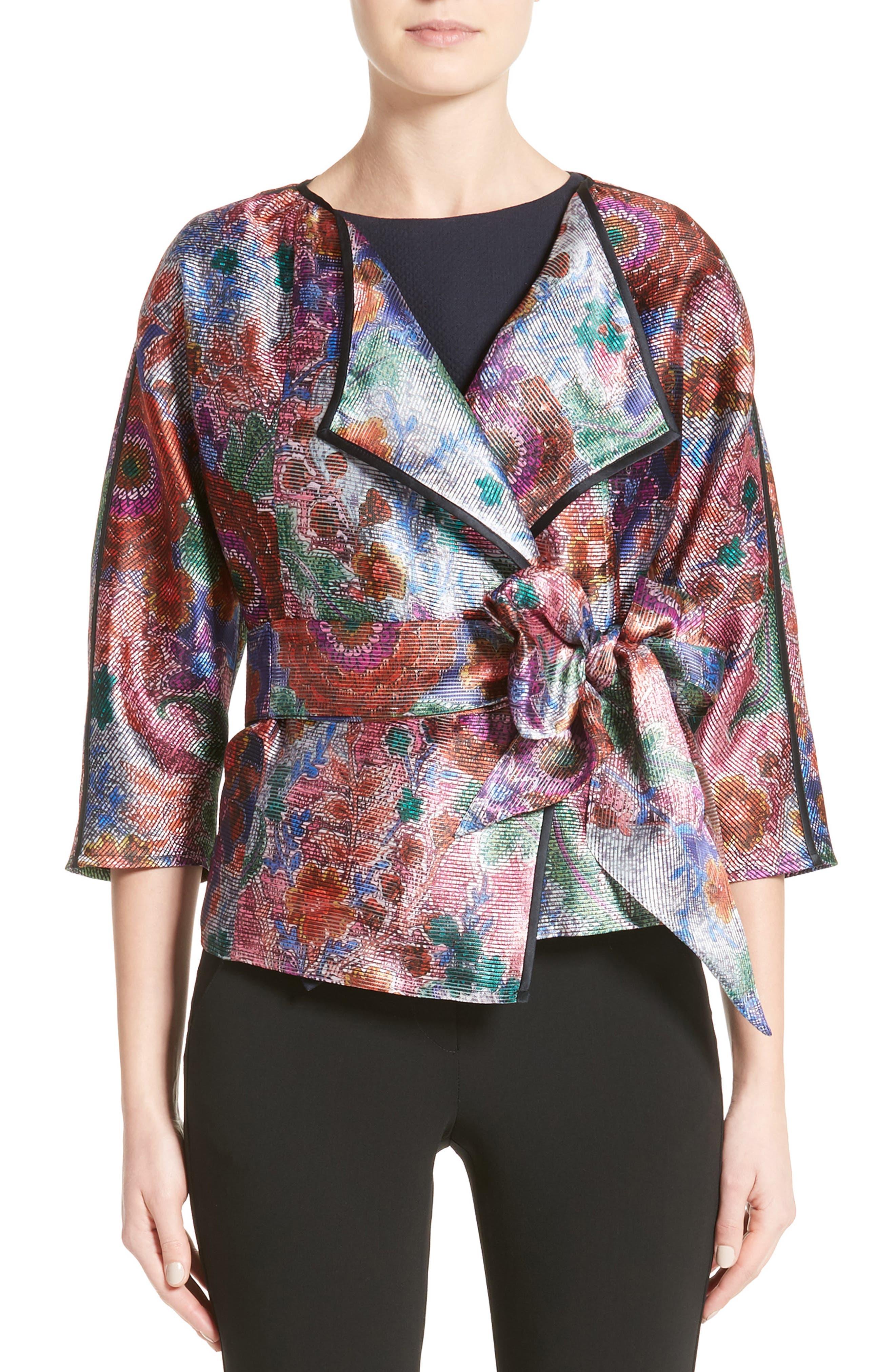 Main Image - Armani Collezioni Floral Print Organza Jacket