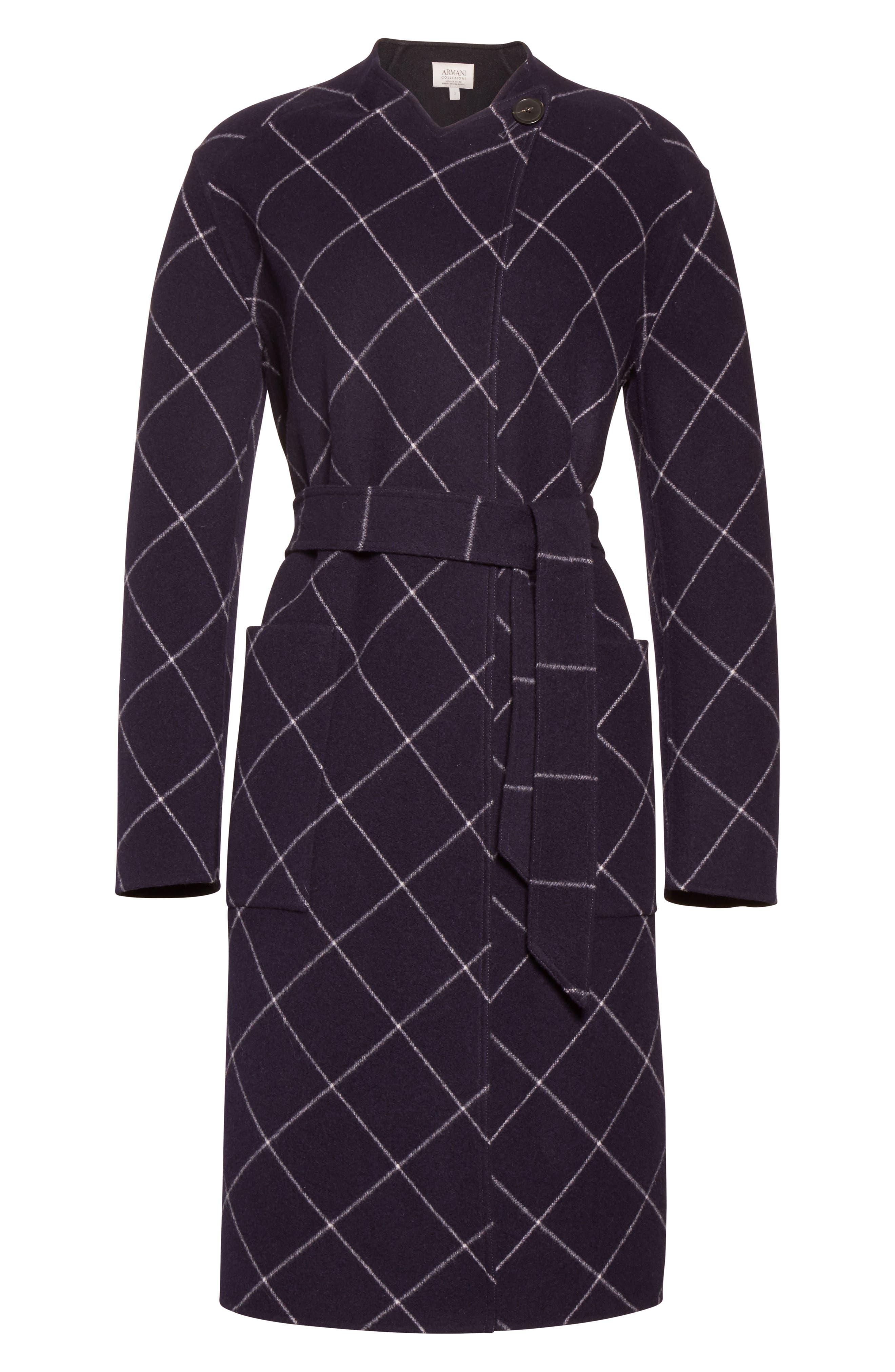 Windowpane Wool & Cashmere Wrap Coat,                             Alternate thumbnail 4, color,                             Navy Multi