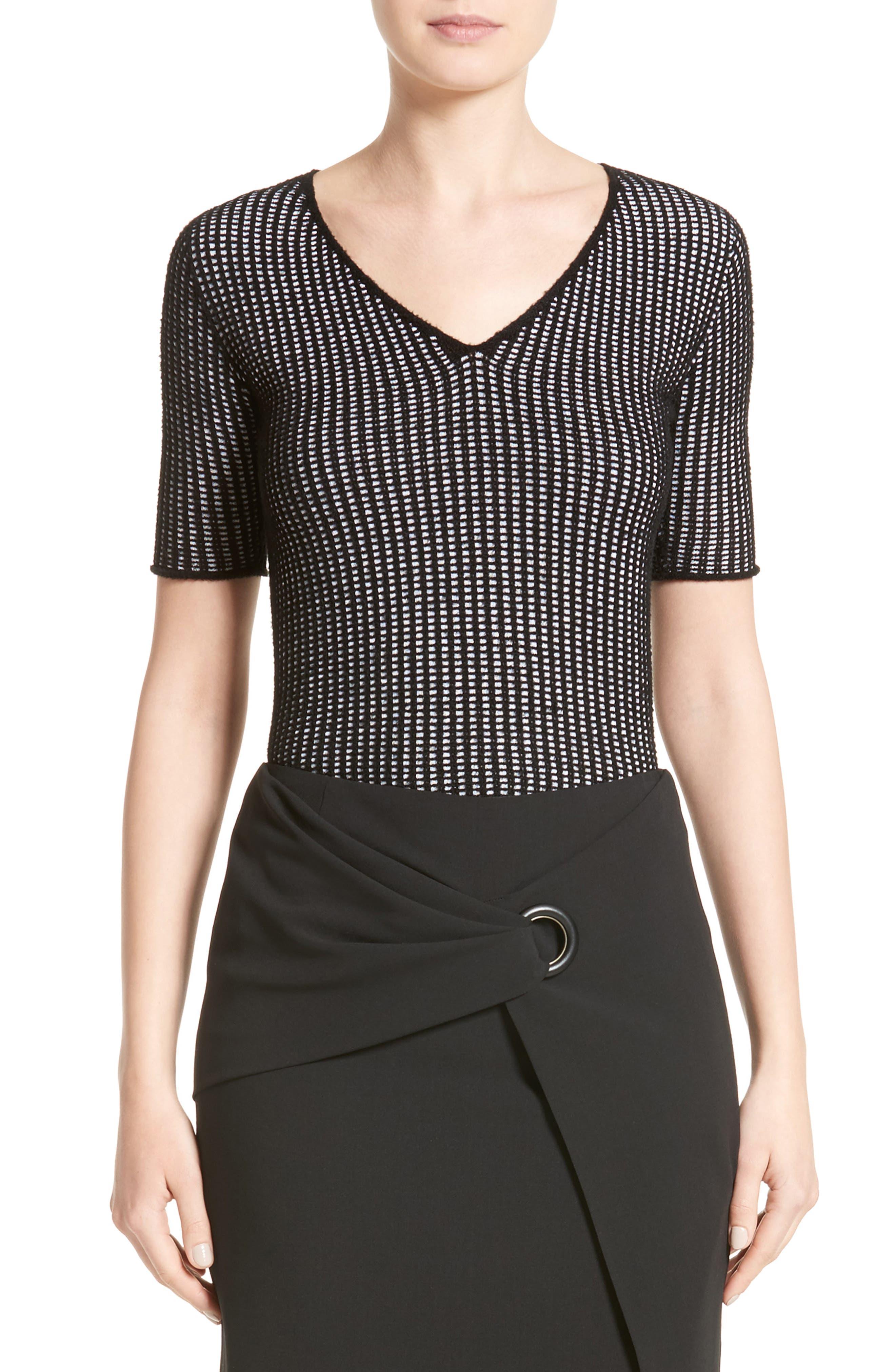 Check Jacquard Sweater,                         Main,                         color, Black White Multi