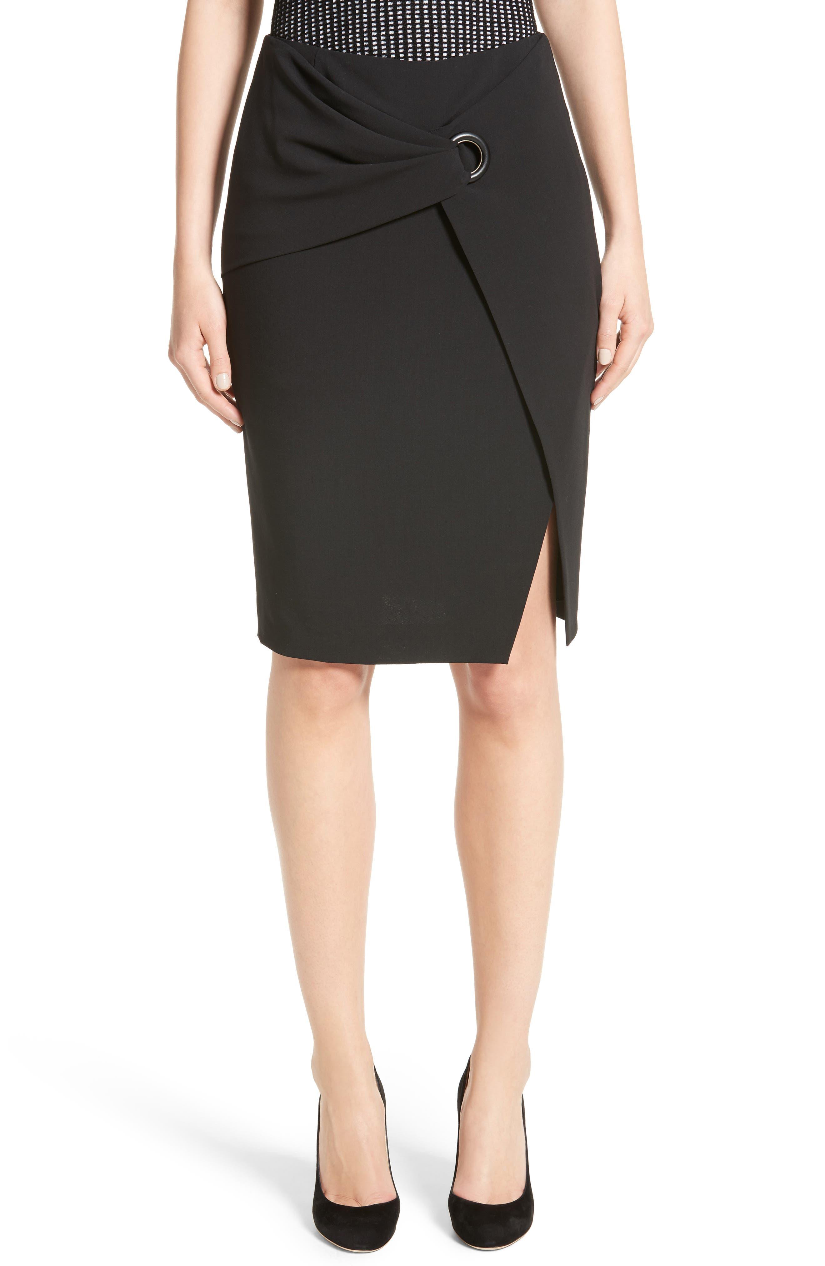 Armani Collezioni Stretch Wool Faux Wrap Skirt