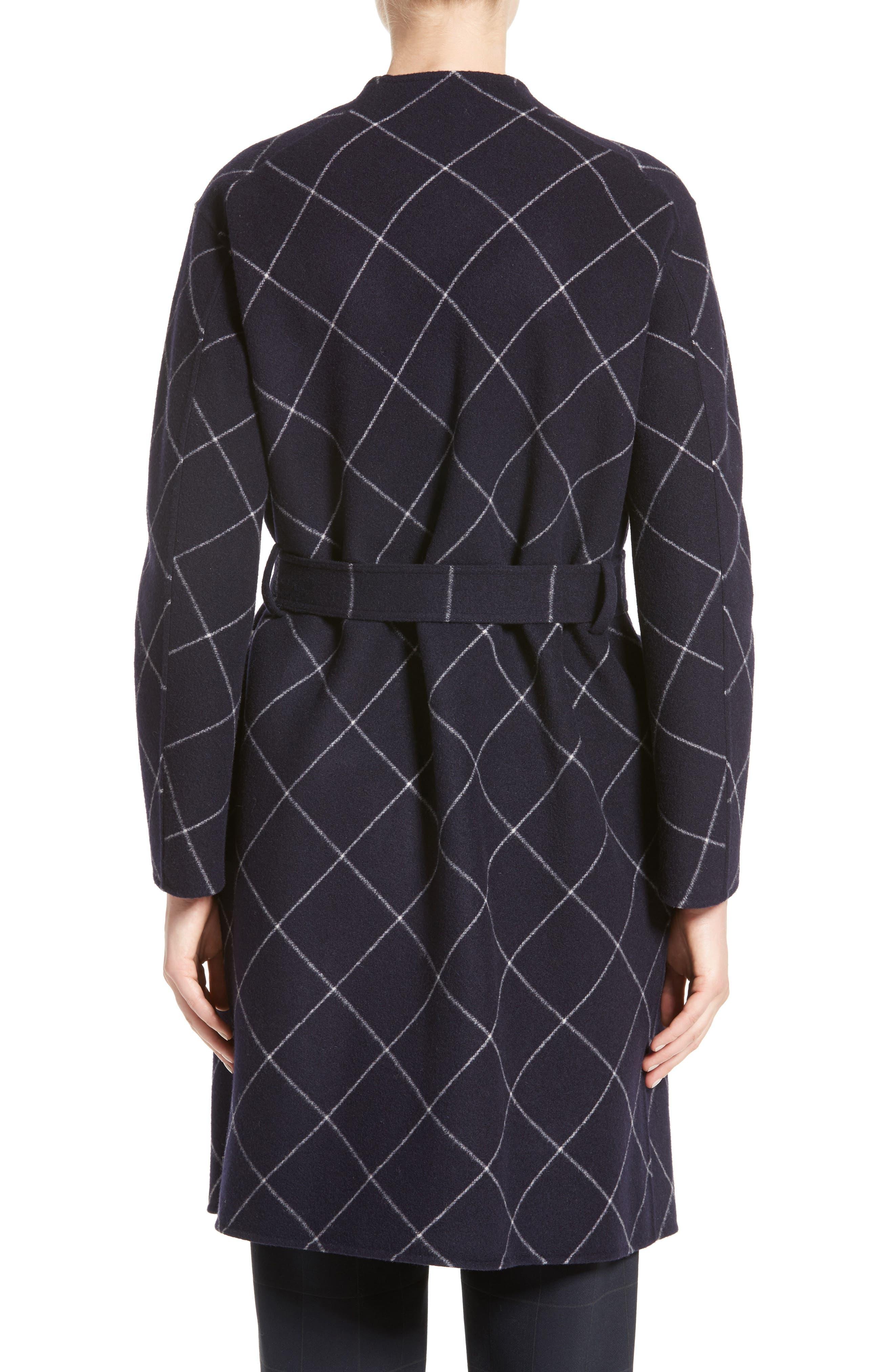 Windowpane Wool & Cashmere Wrap Coat,                             Alternate thumbnail 2, color,                             Navy Multi
