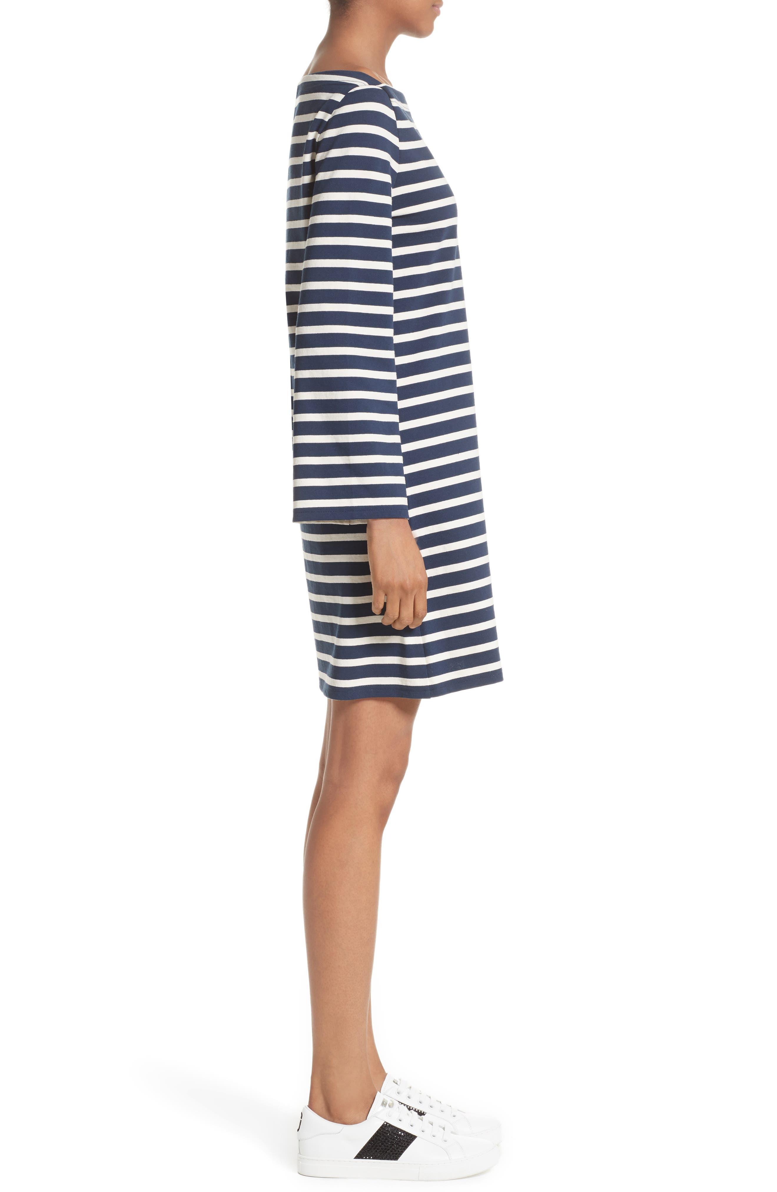Reverse Breton Stripe Dress,                             Alternate thumbnail 7, color,                             Navy/ Ecru