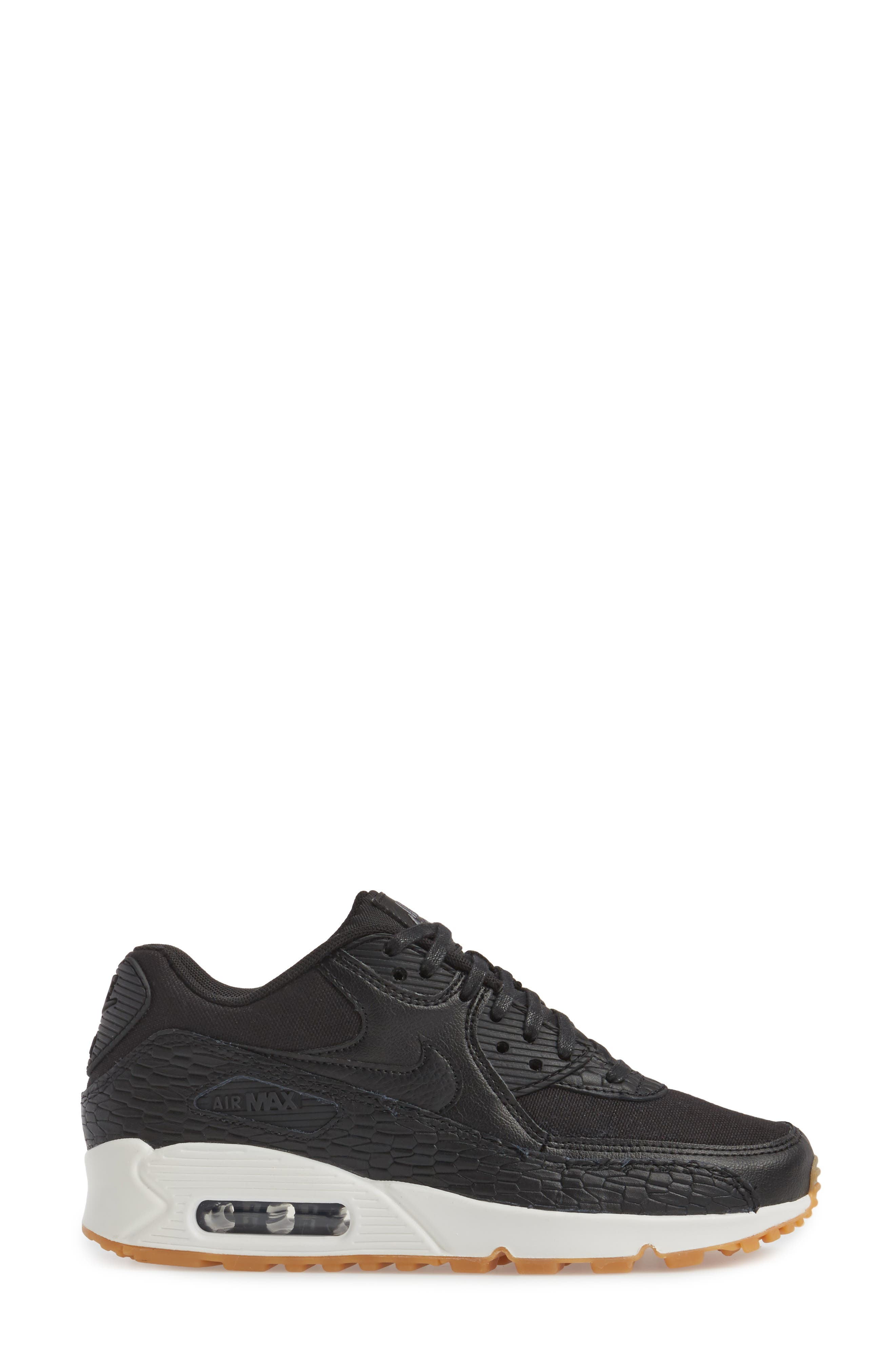 Air Max 90 Premium Leather Sneaker,                             Alternate thumbnail 3, color,                             Black/ Dark Grey/ Ivory