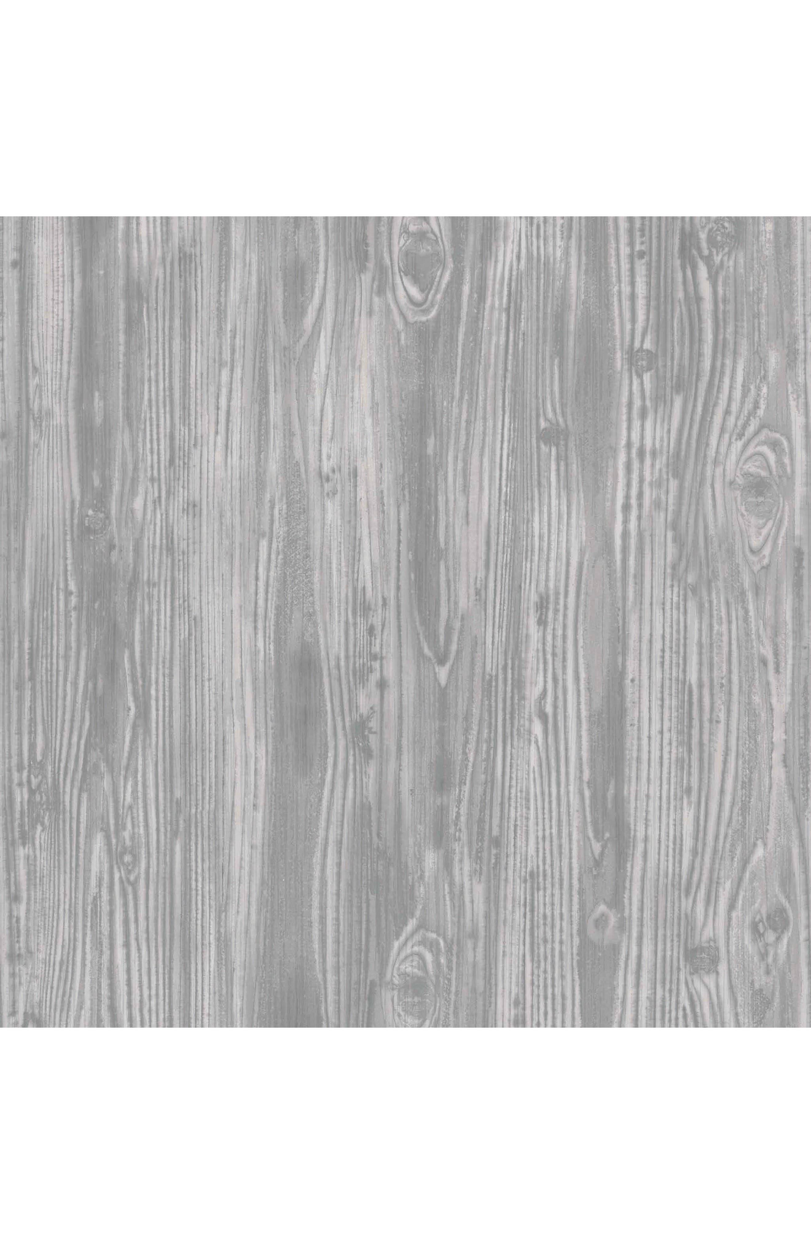 Woodgrain Self-Adhesive Vinyl Wallpaper,                             Main thumbnail 1, color,                             Pewter