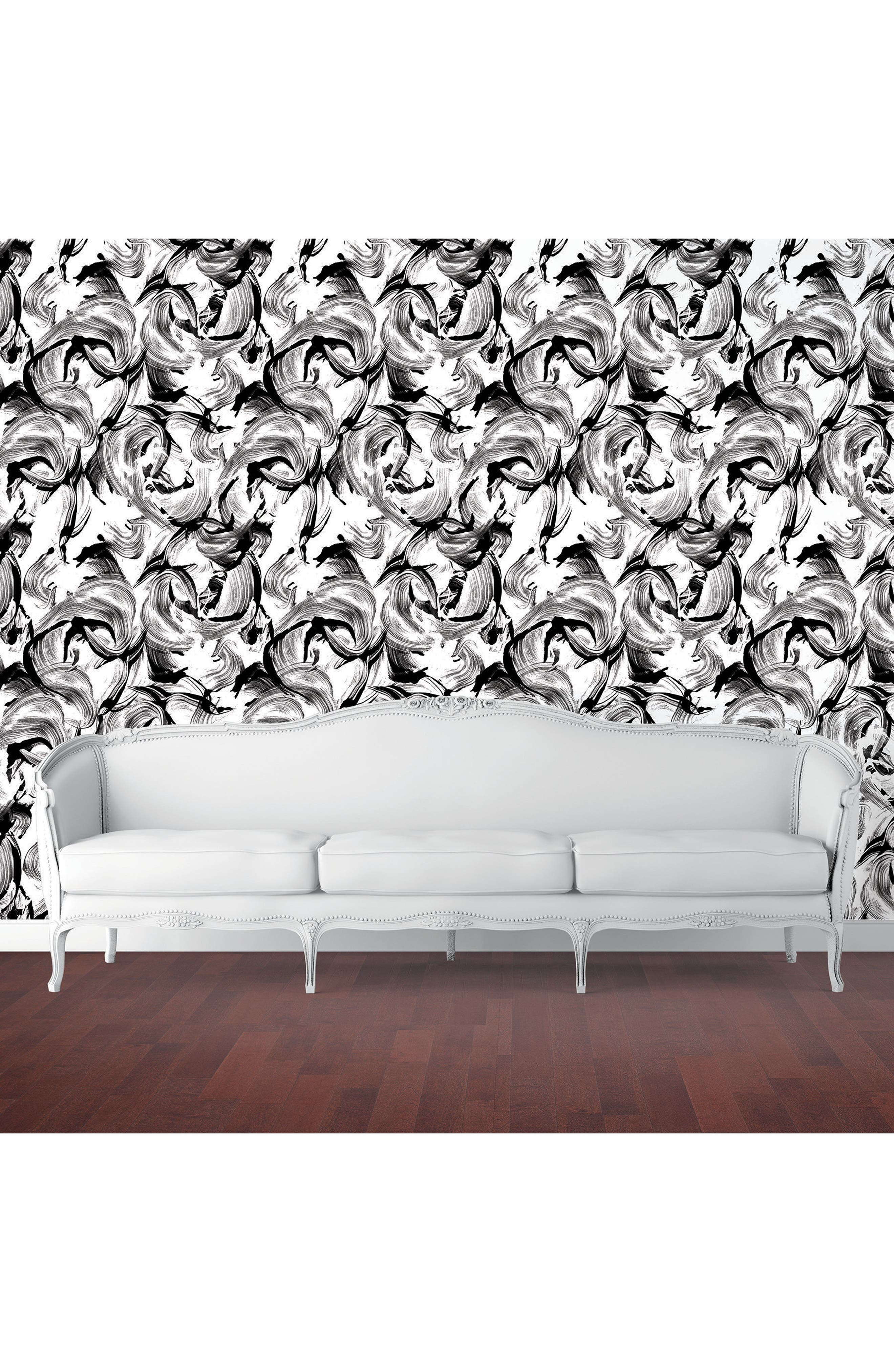 L'Amour Self-Adhesive Vinyl Wallpaper,                             Alternate thumbnail 2, color,                             White/ Black