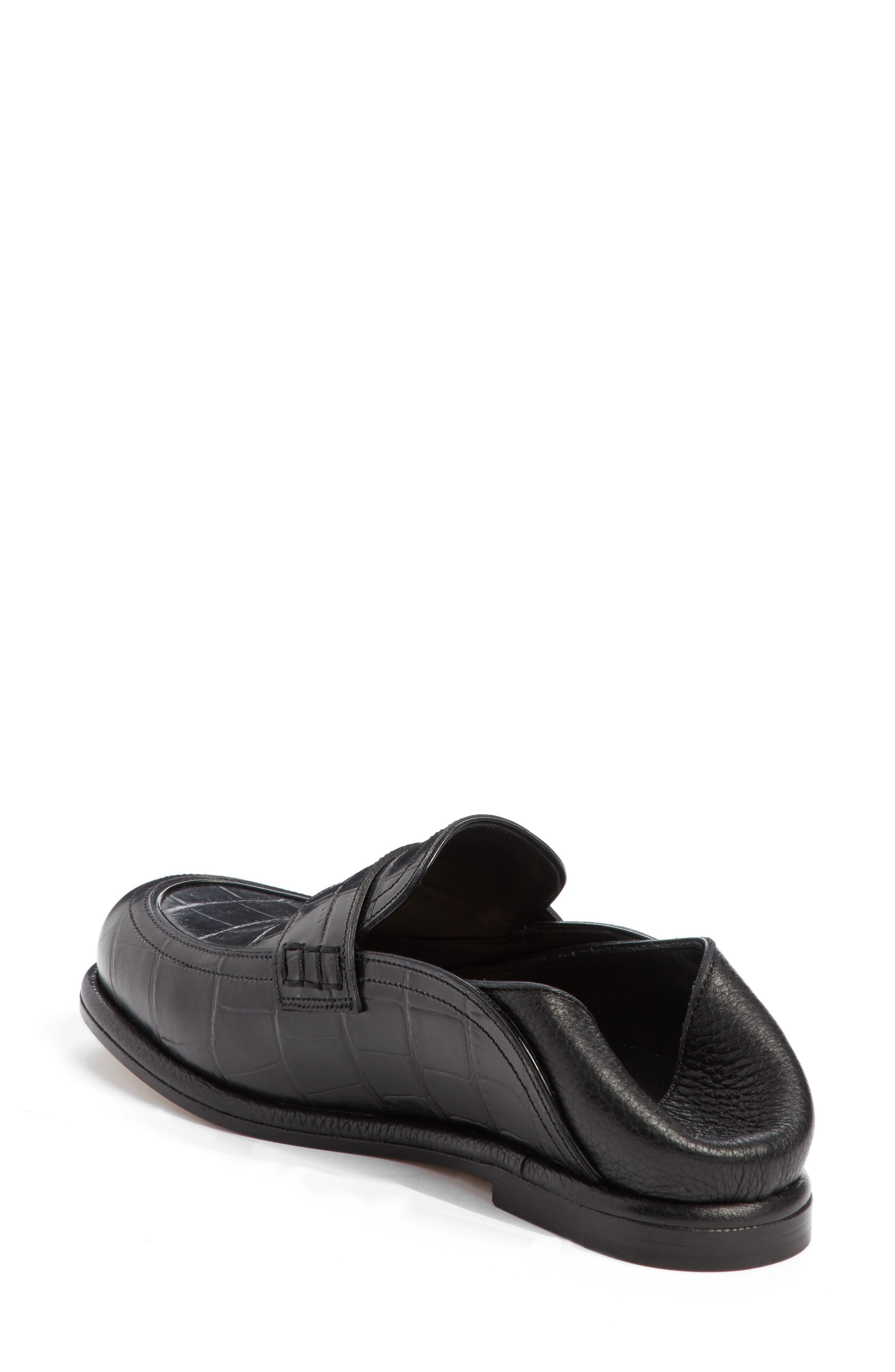 Croc Embossed Convertible Loafer,                             Alternate thumbnail 3, color,                             Black