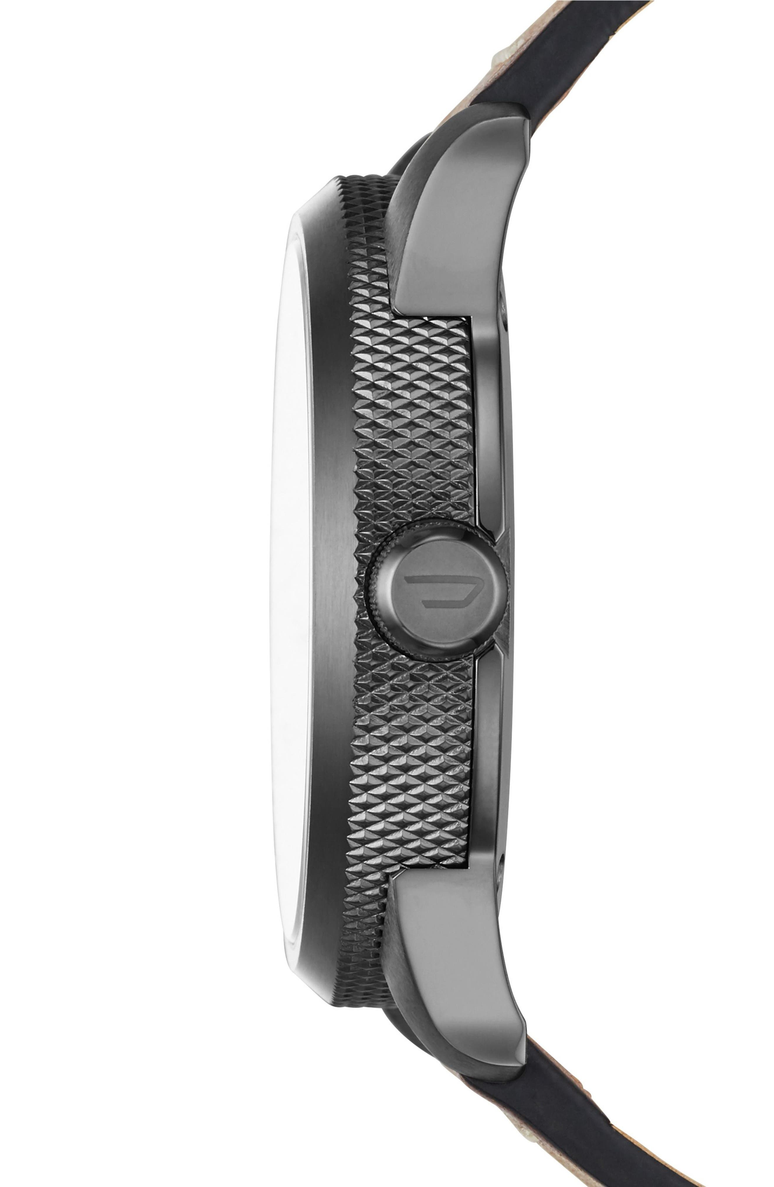Alternate Image 2  - DIESEL® Rasp Leather Strap Watch, 46mm