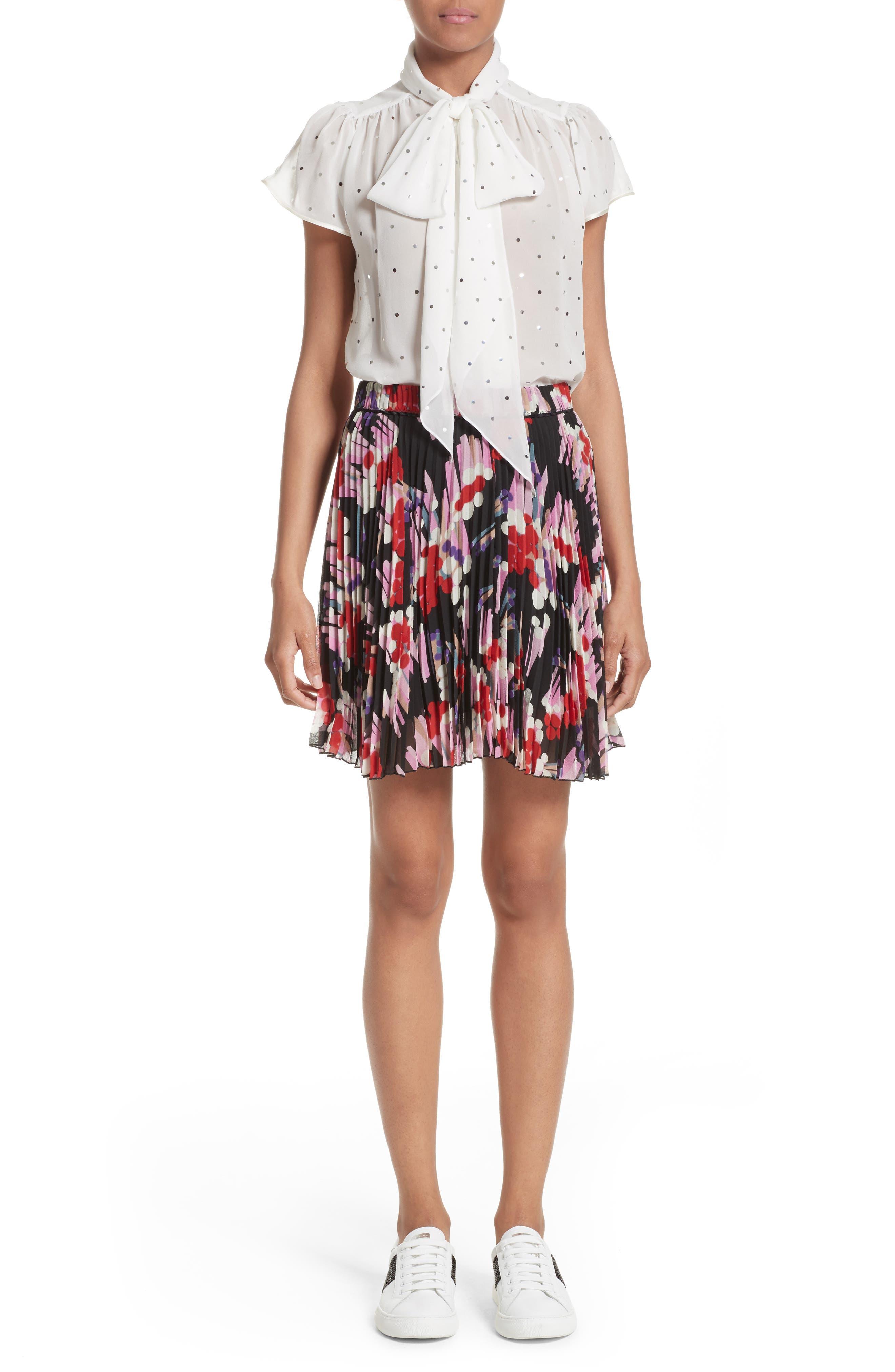 Pleated Print Silk Skirt,                             Alternate thumbnail 7, color,                             Black Multi