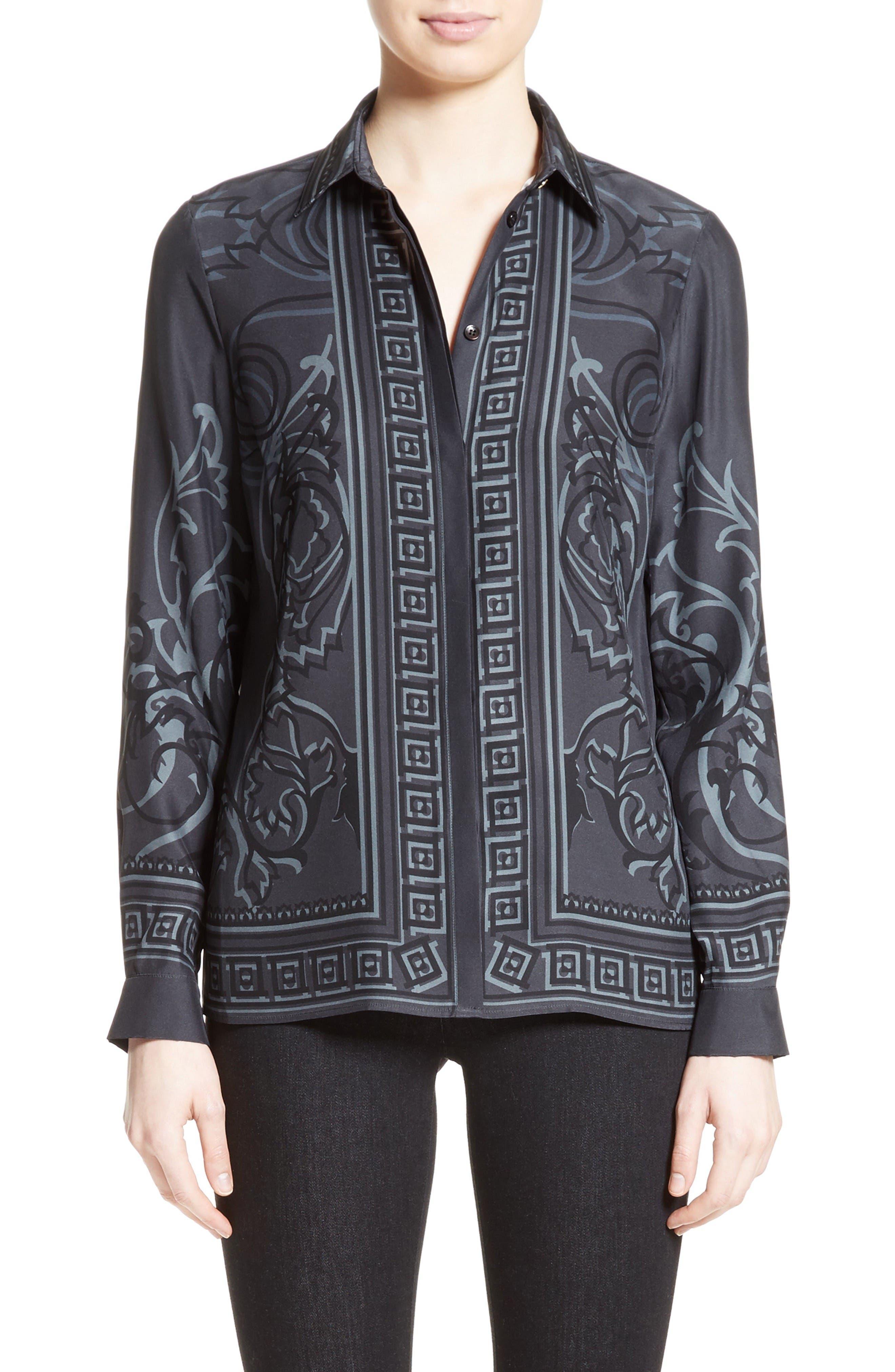 Baroque Print Silk Blouse,                         Main,                         color, Black/ Grey