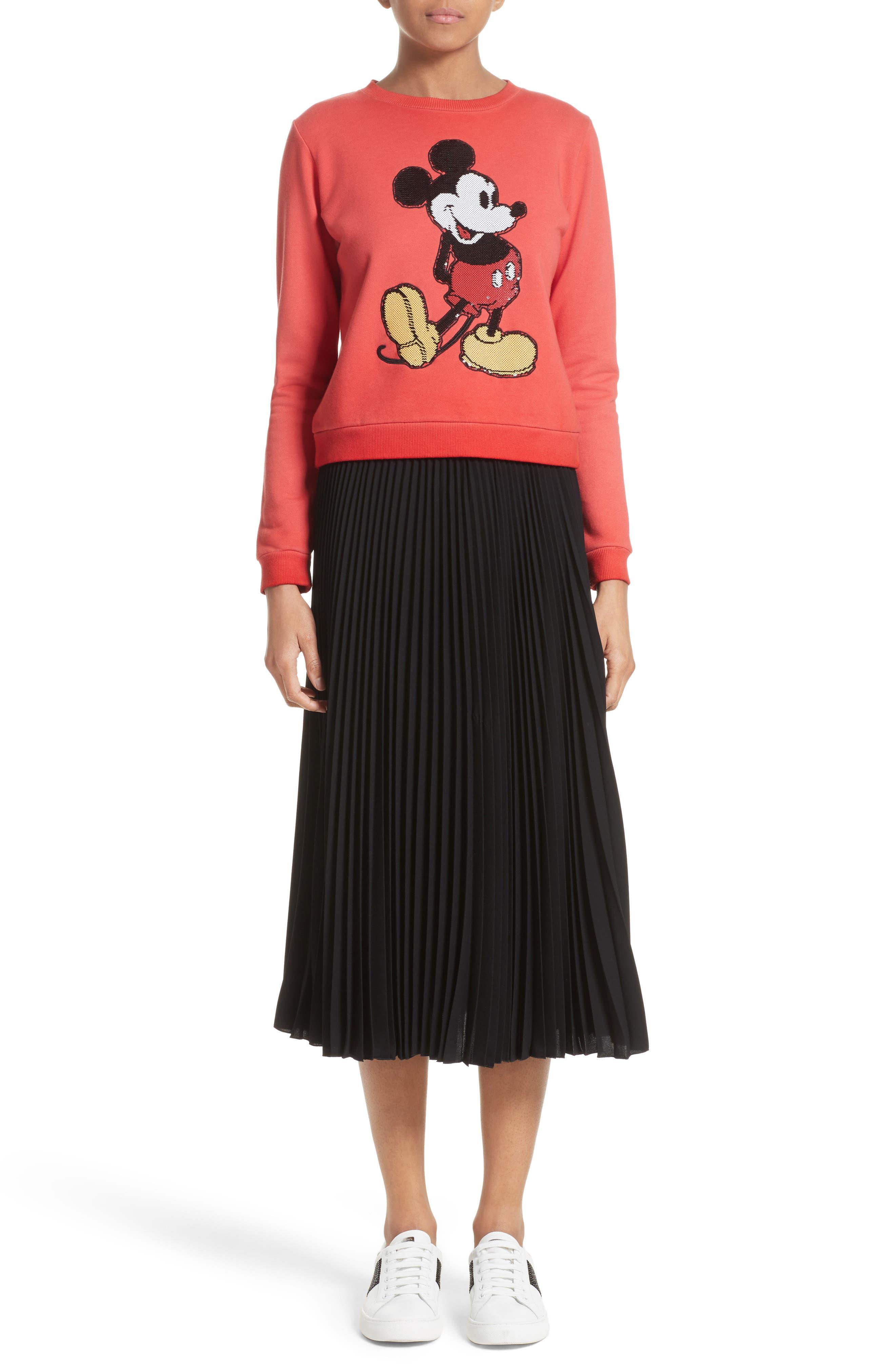 Pleated Crêpe de Chine Midi Skirt,                             Alternate thumbnail 10, color,                             Black