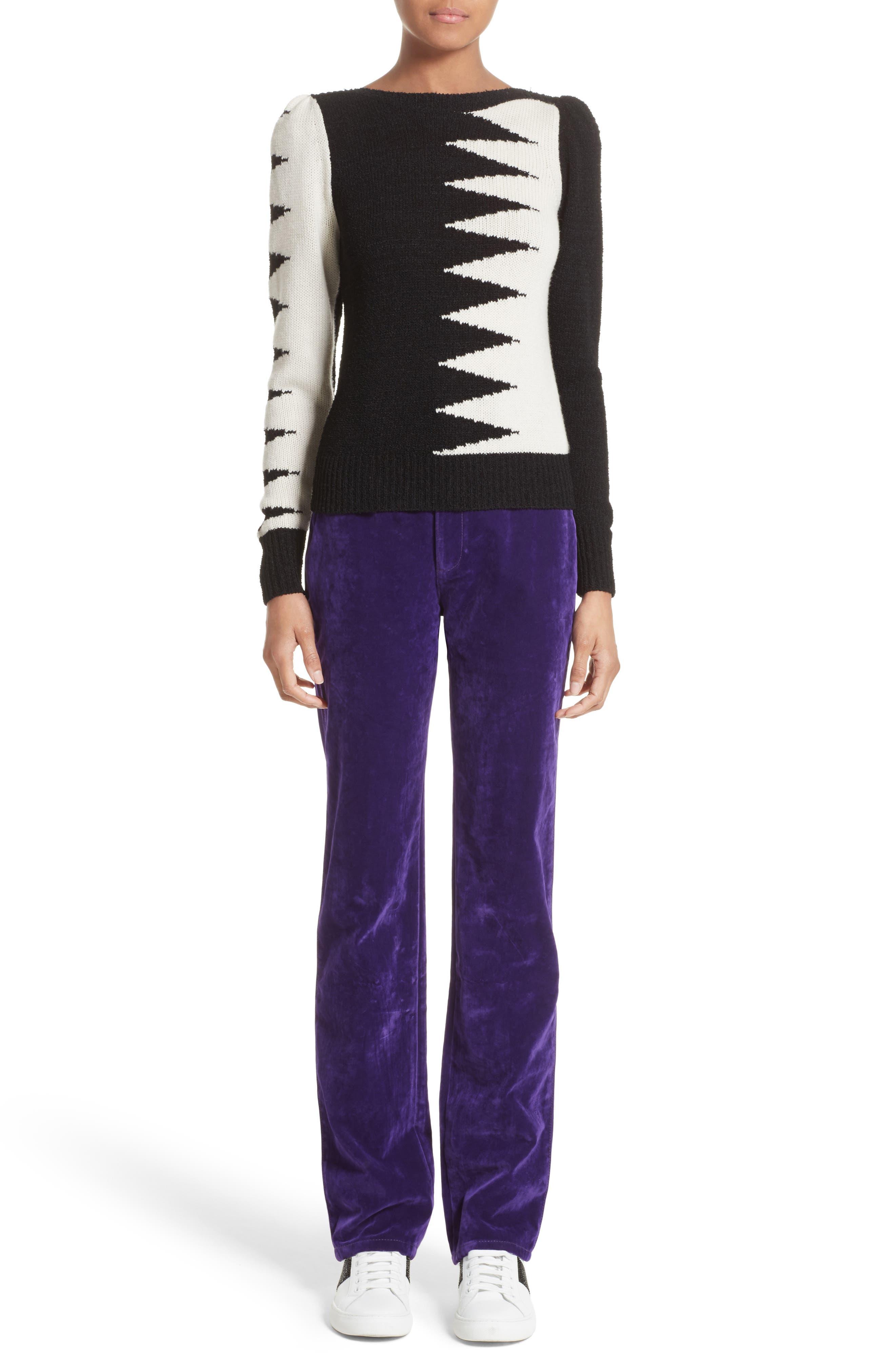 40s Intarsia Sweater,                             Alternate thumbnail 8, color,                             Black Multi