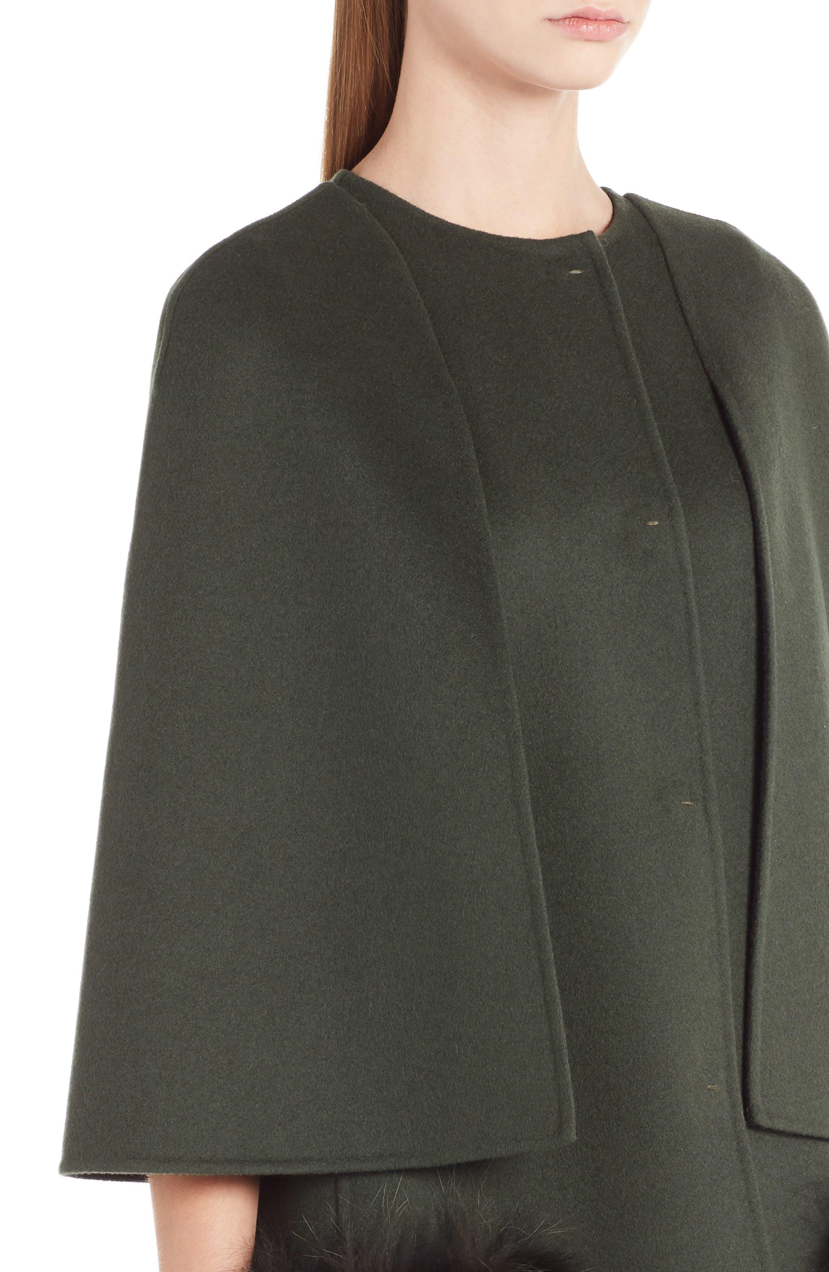 Alternate Image 5  - Fendi Wool Cape Coat with Genuine Fox Fur Pockets