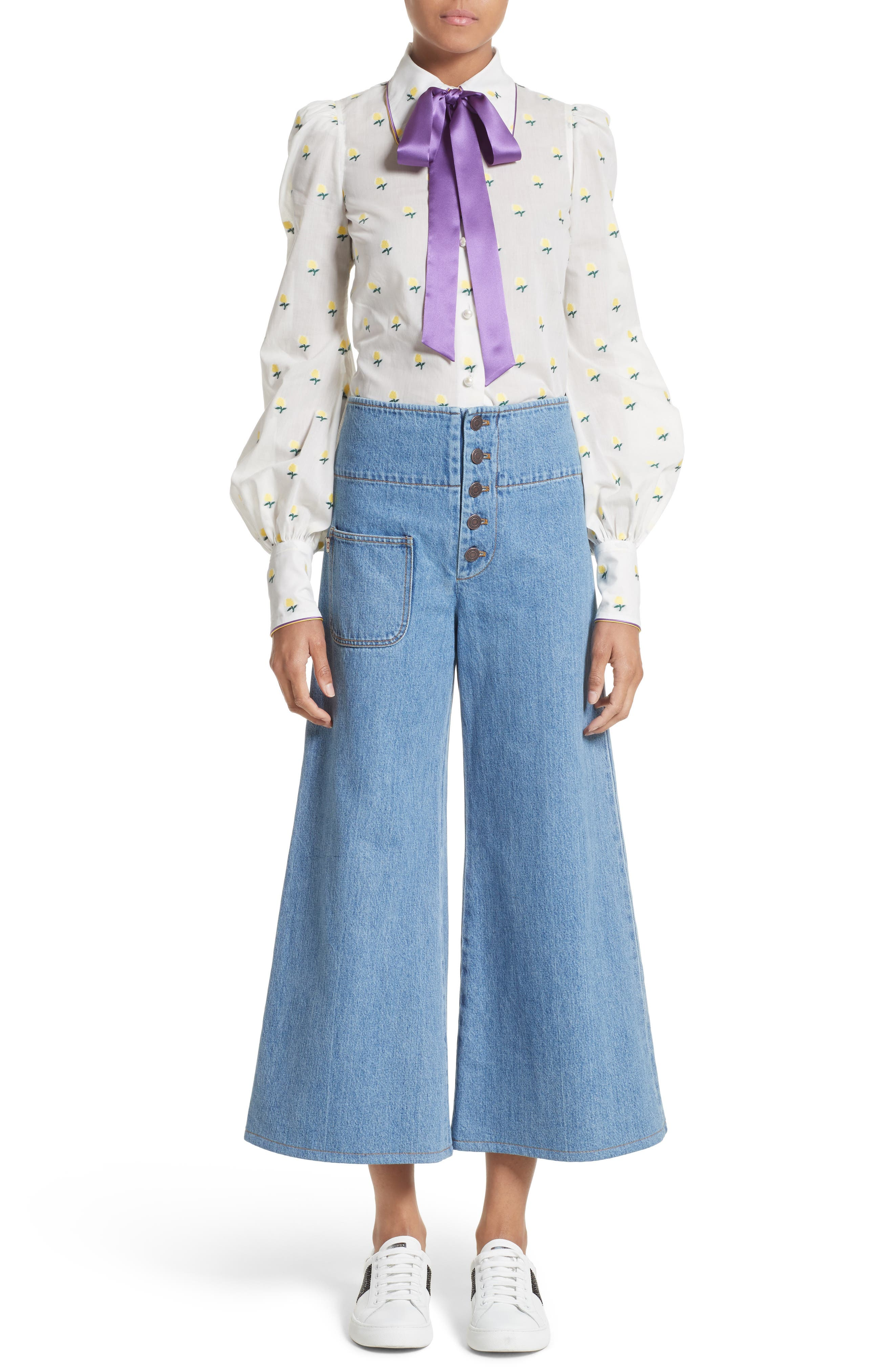 High Waist Crop Flare Jeans,                             Alternate thumbnail 8, color,                             Retro Indigo