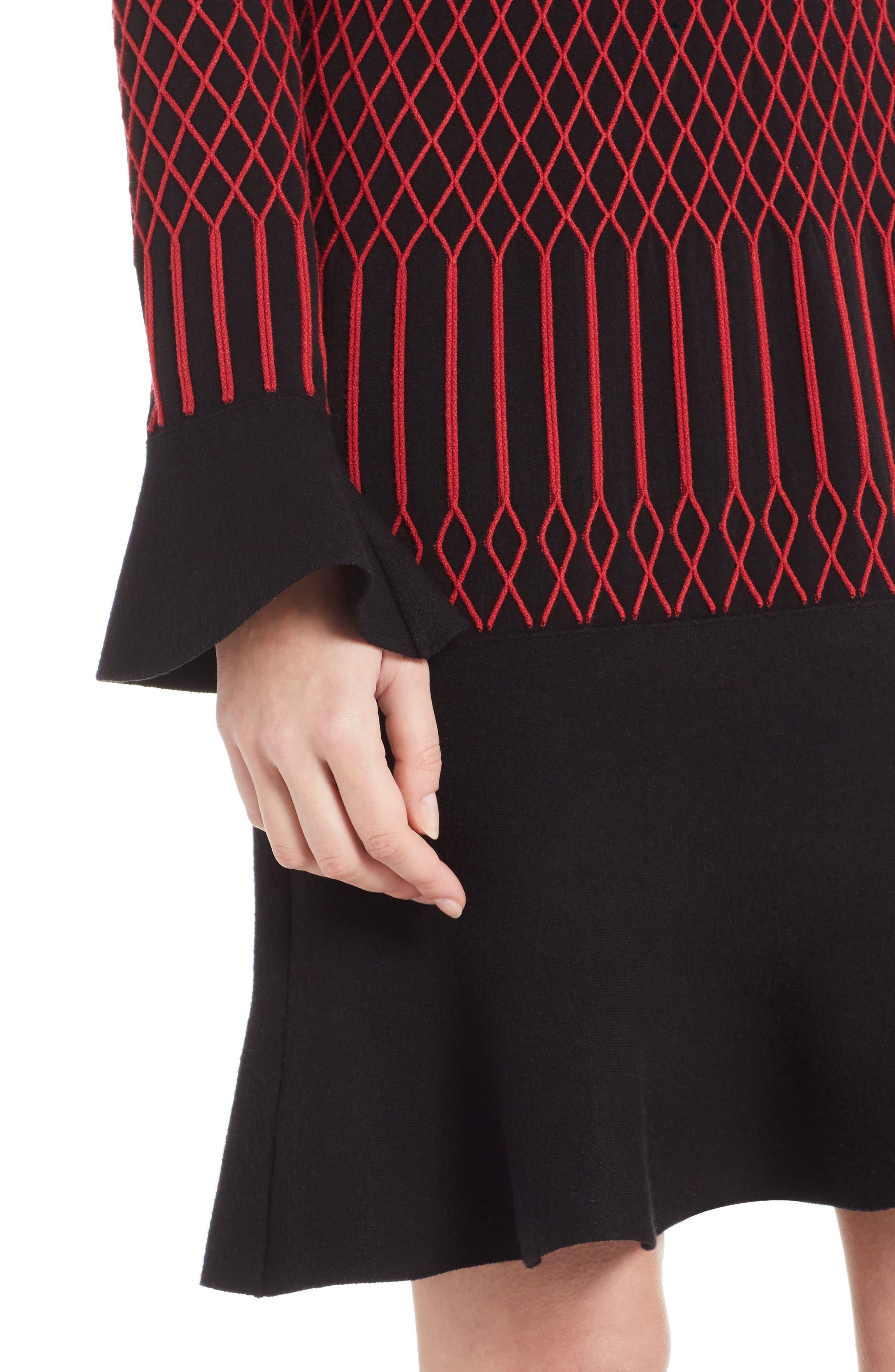 Lozenge Knit Flutter Hem Dress,                             Alternate thumbnail 6, color,                             Black/ Poppy