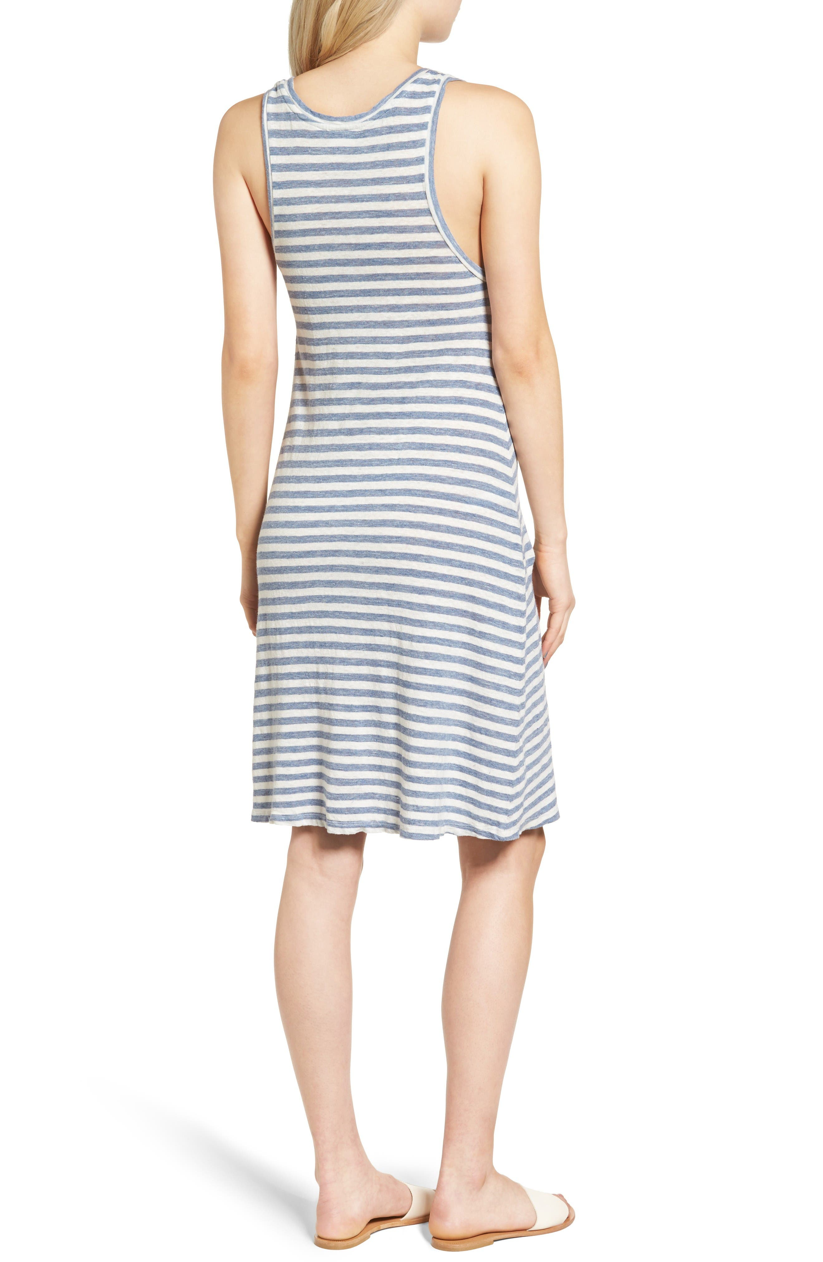 Avril Linen Tank Dress,                             Alternate thumbnail 2, color,                             Heather Blue/ Powder White