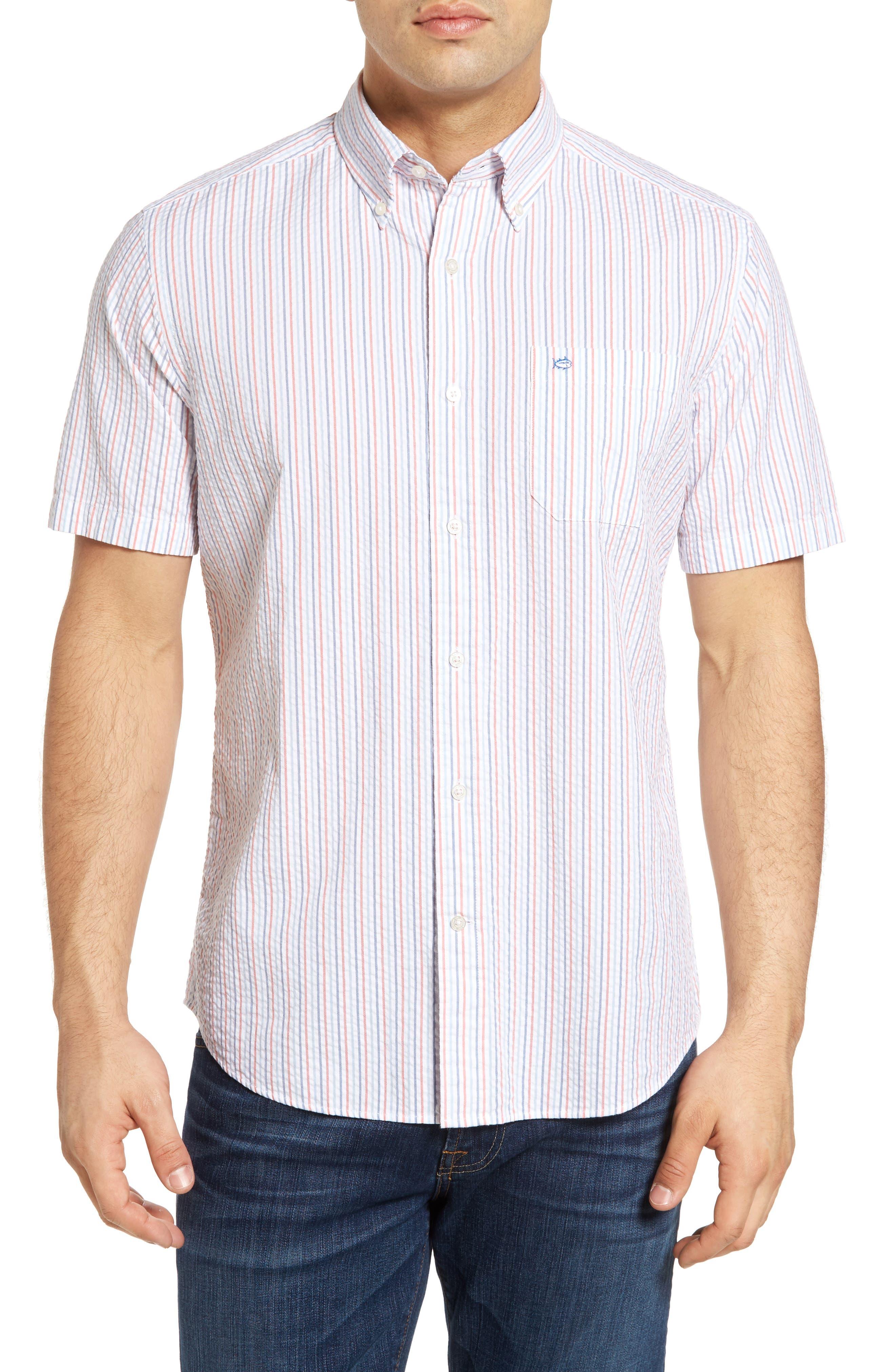 SOUTHERN TIDE Stripe Seersucker Sport Shirt