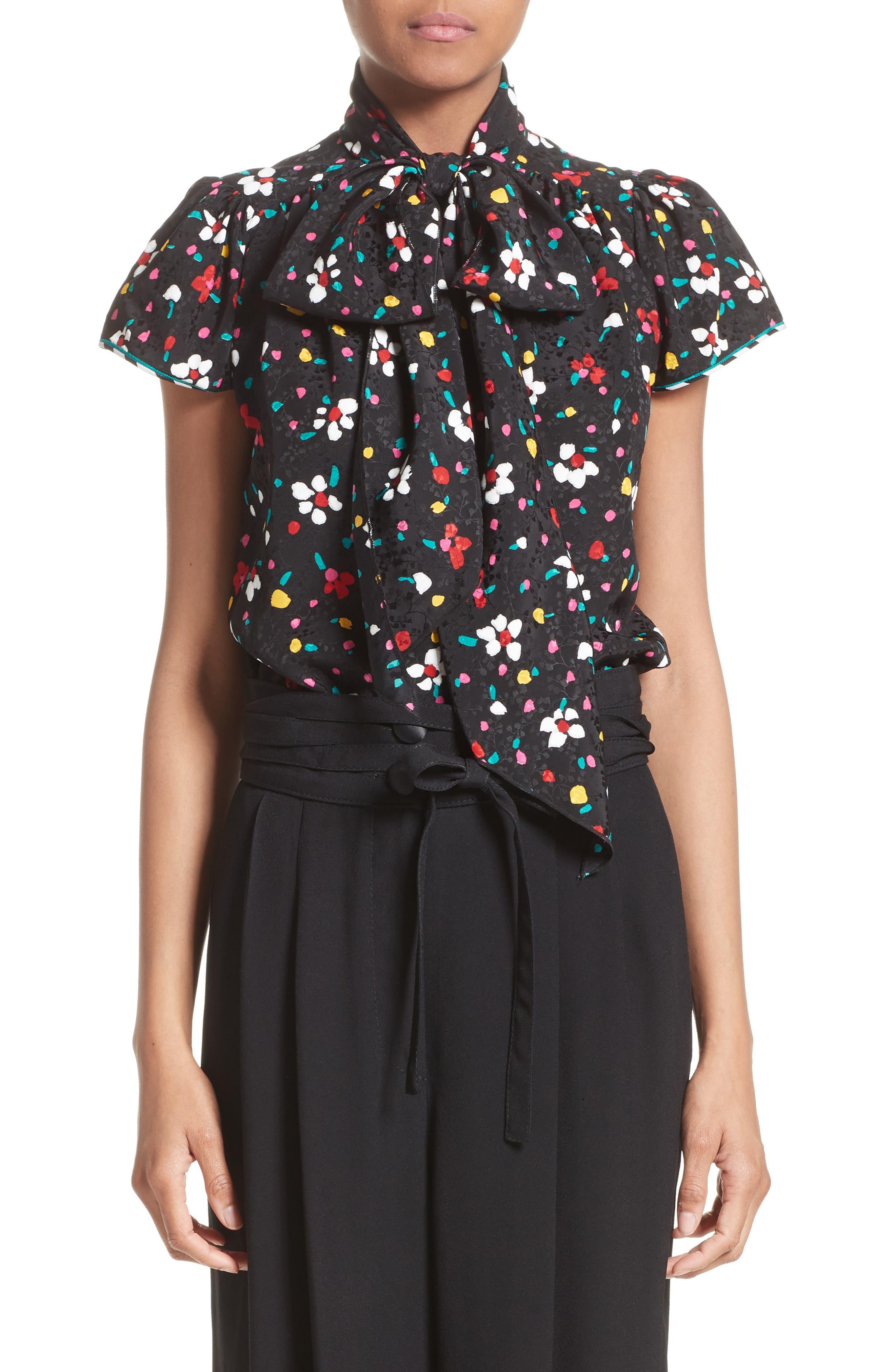 Floral Silk Jacquard Blouse,                         Main,                         color, Black Multi