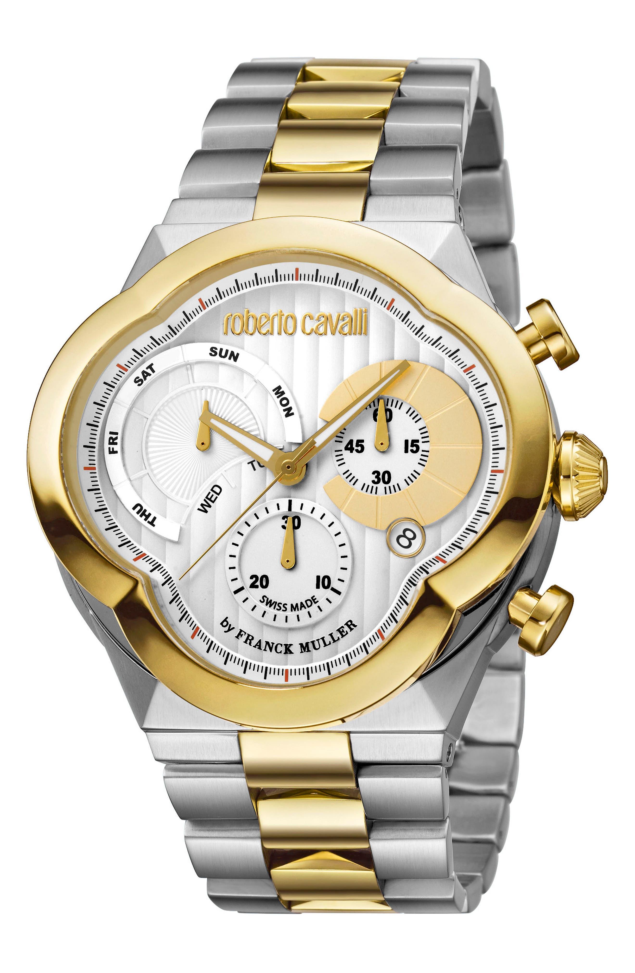Main Image - Roberto Cavalli by Franck Muller Clover Chronograph Bracelet Watch, 47mm