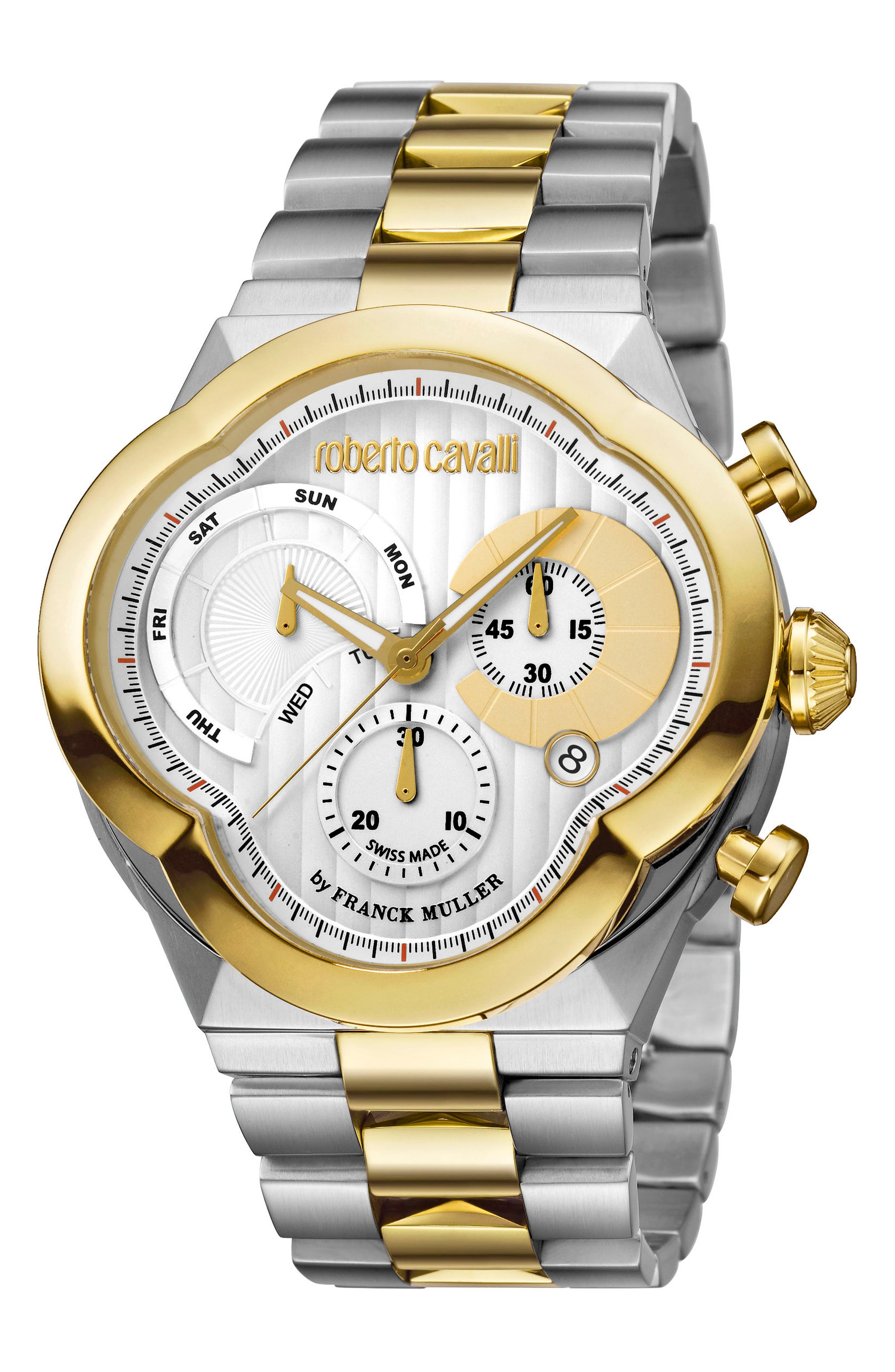 Clover Chronograph Bracelet Watch, 47mm,                         Main,                         color, Silver/ White Guilloche/ Gold