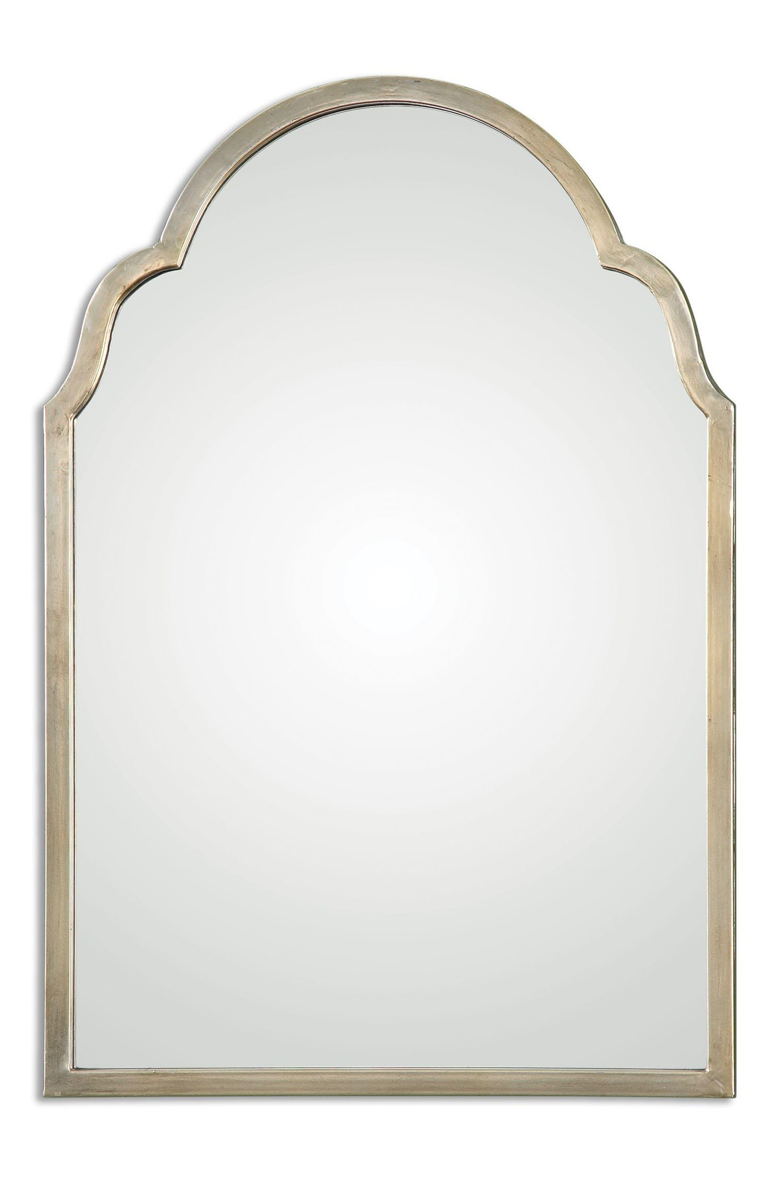 Brayden Small Arch Mirror,                             Main thumbnail 1, color,                             Metallic Silver