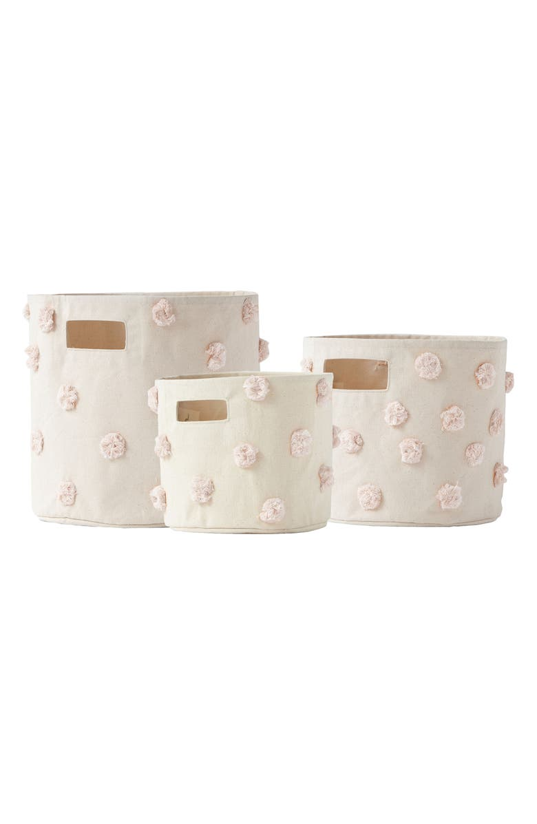 Pom Set of 3 Canvas Bins,                         Main,                         color, Blush