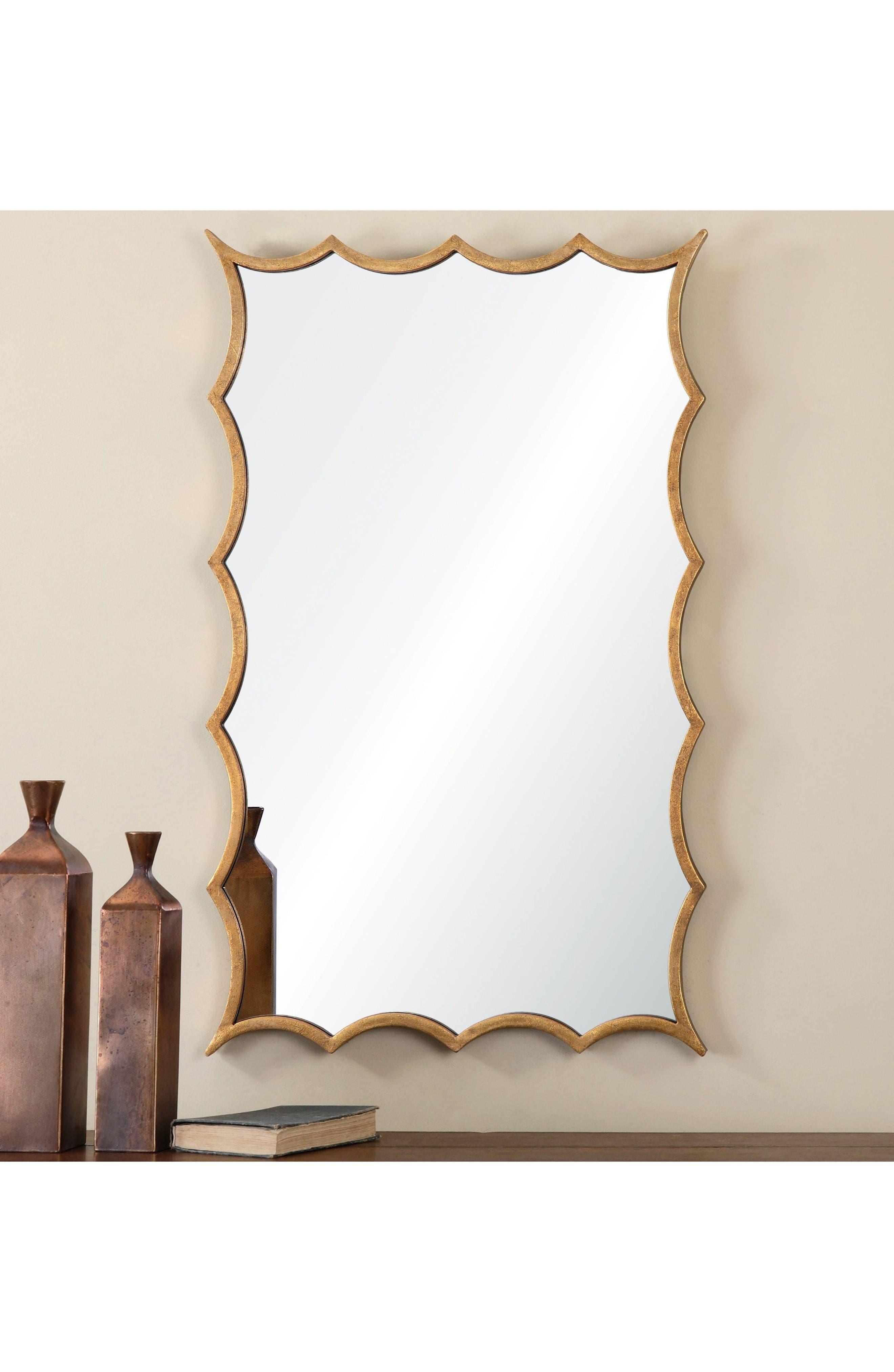 Dareios Wall Mirror,                             Alternate thumbnail 2, color,                             Metallic Gold