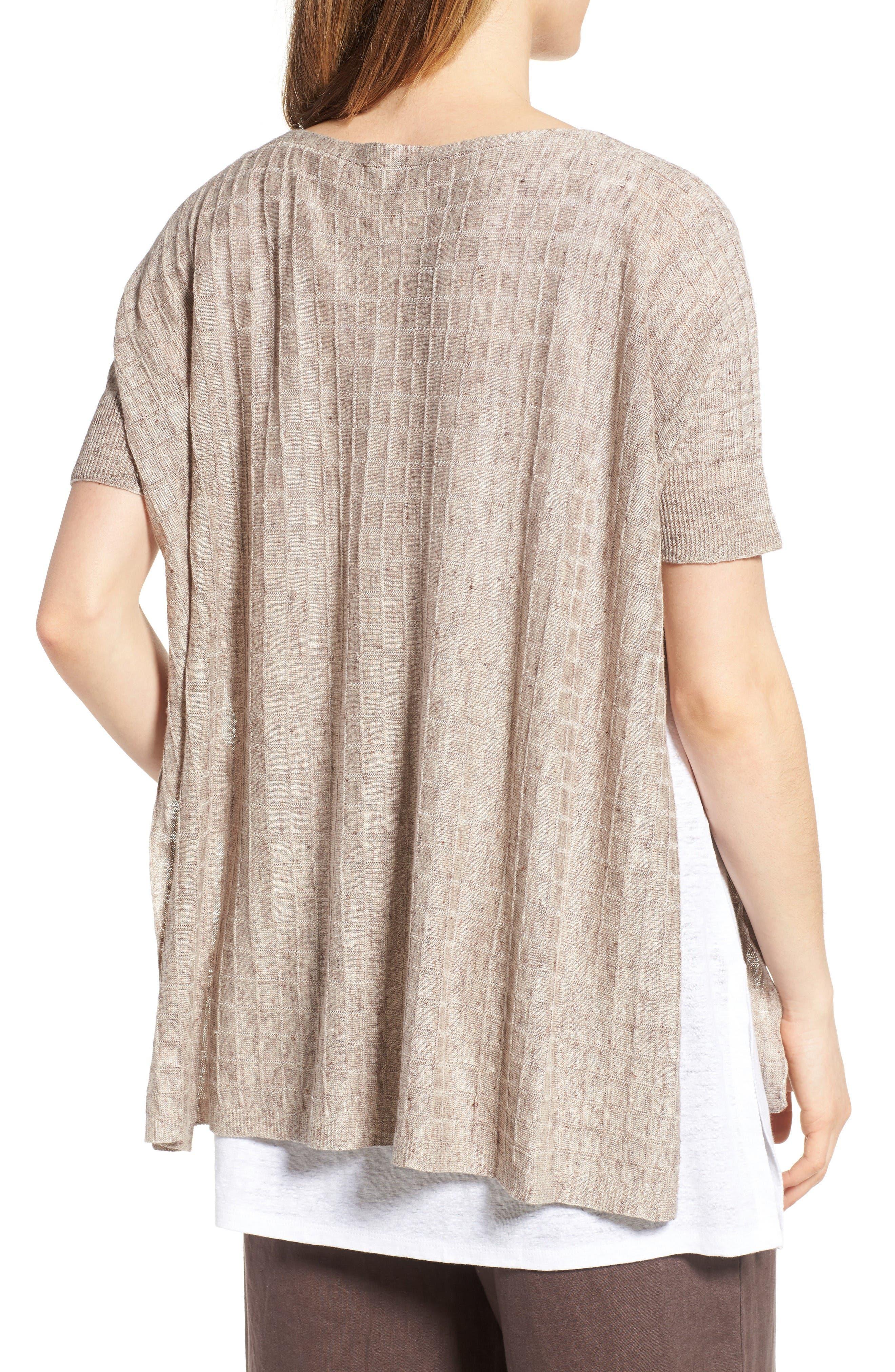 Alternate Image 2  - Eileen Fisher Linen Side Slit Sweater (Regular & Petite)