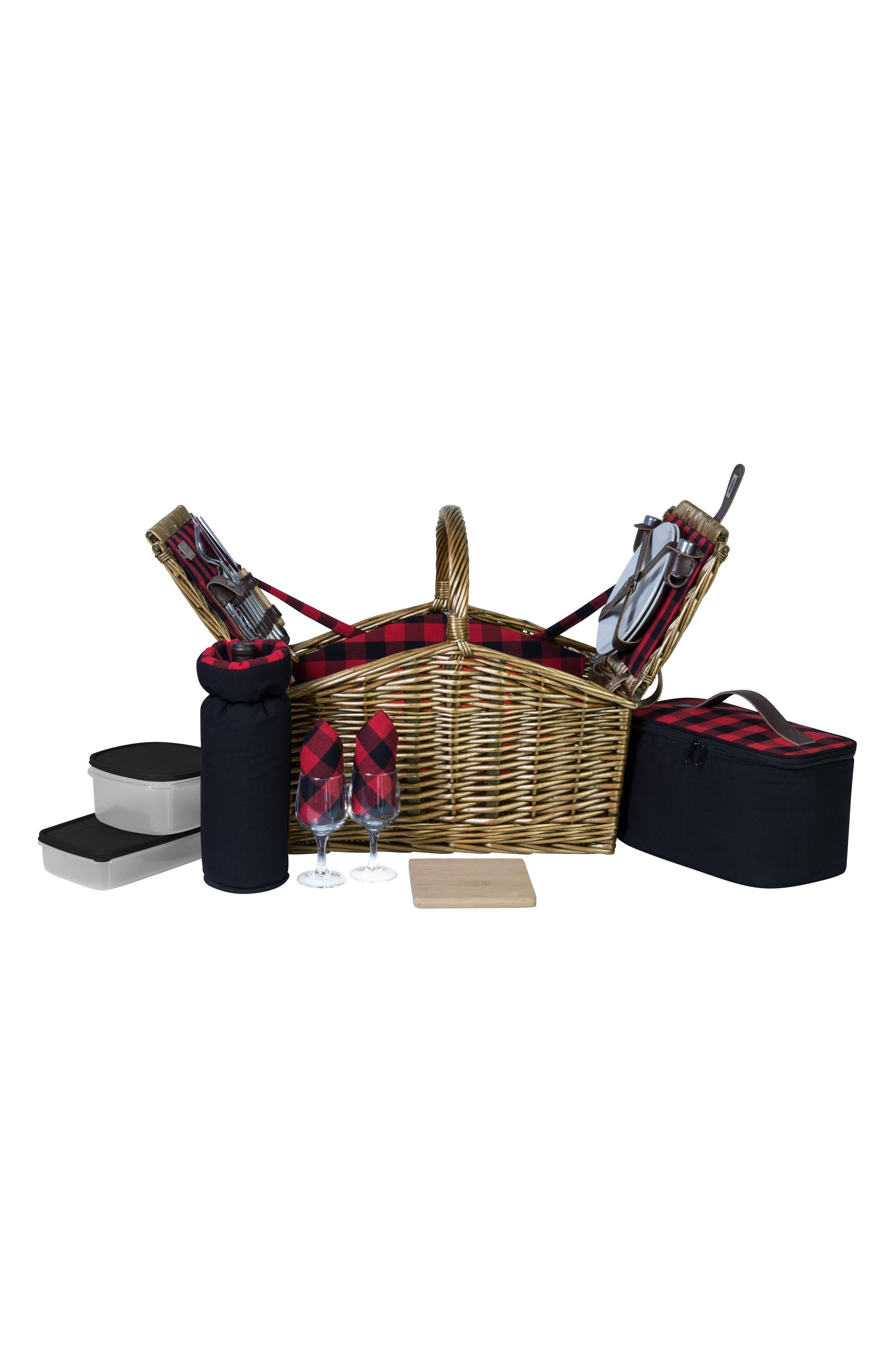 Somerset Wicker Picnic Basket,                             Alternate thumbnail 3, color,                             Red