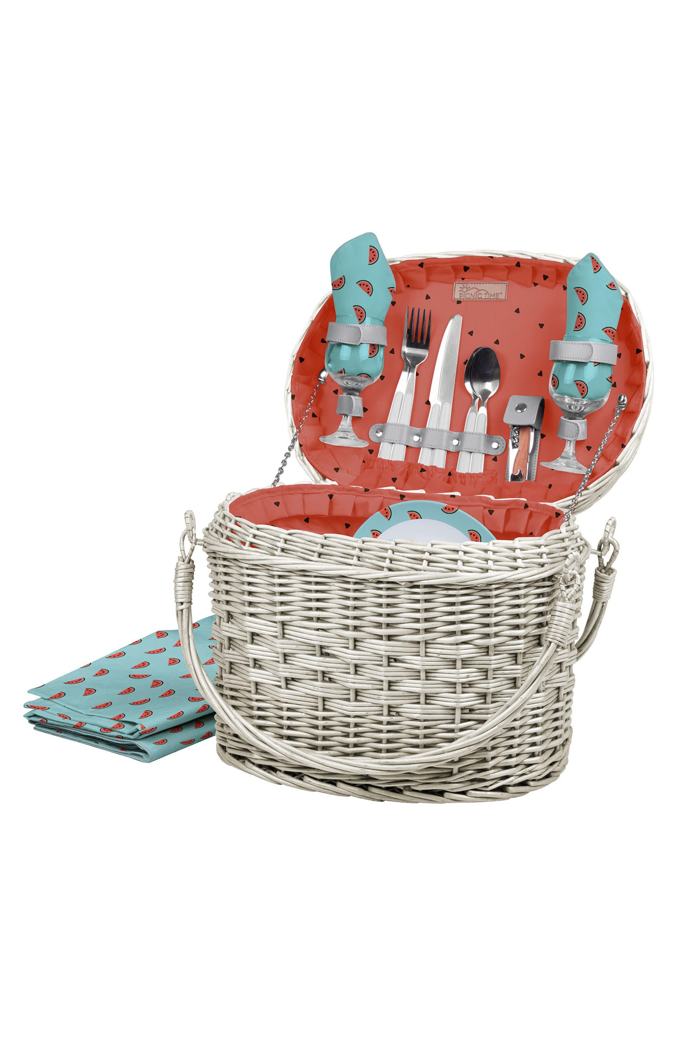 Romance Picnic Basket,                         Main,                         color, Blue