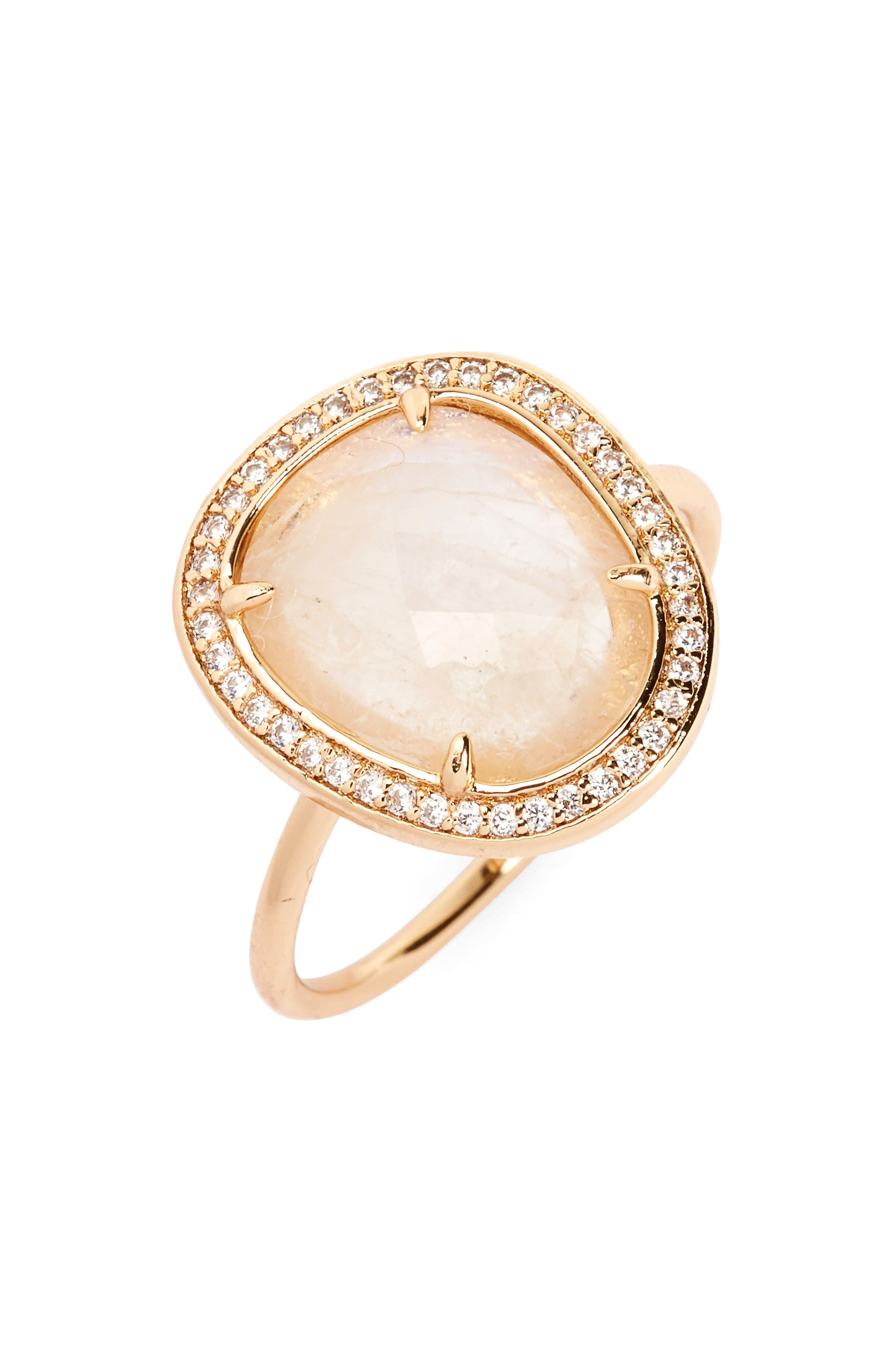 Stone Ring,                         Main,                         color, Moonstone/ Gold
