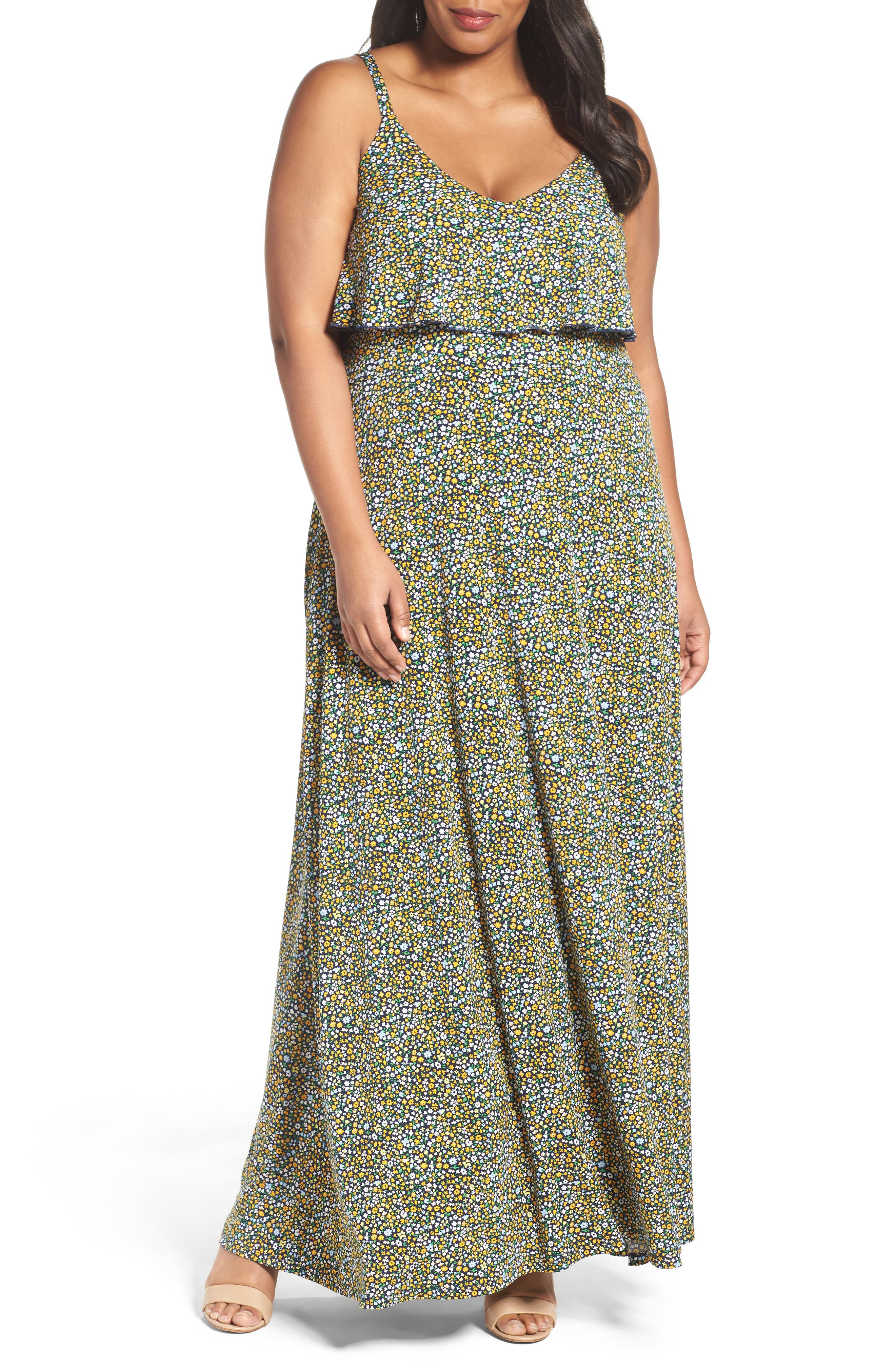 MICHAEL Michael Kors Quinn Flouce Maxi Dress (Plus Size)