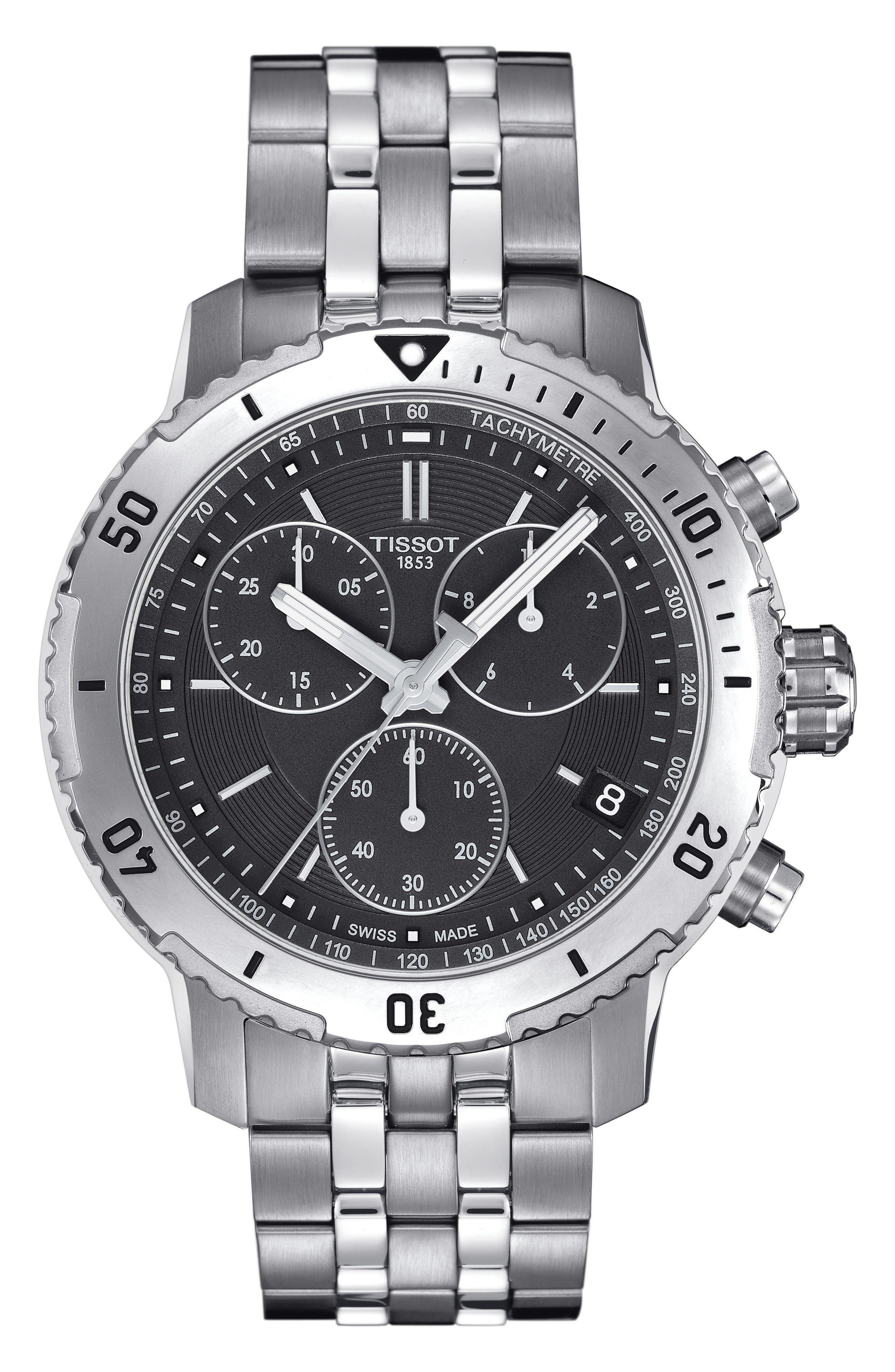 PRS200 Chronograph Bracelet Watch, 41mm,                             Main thumbnail 1, color,                             Silver/ Black/ Silver