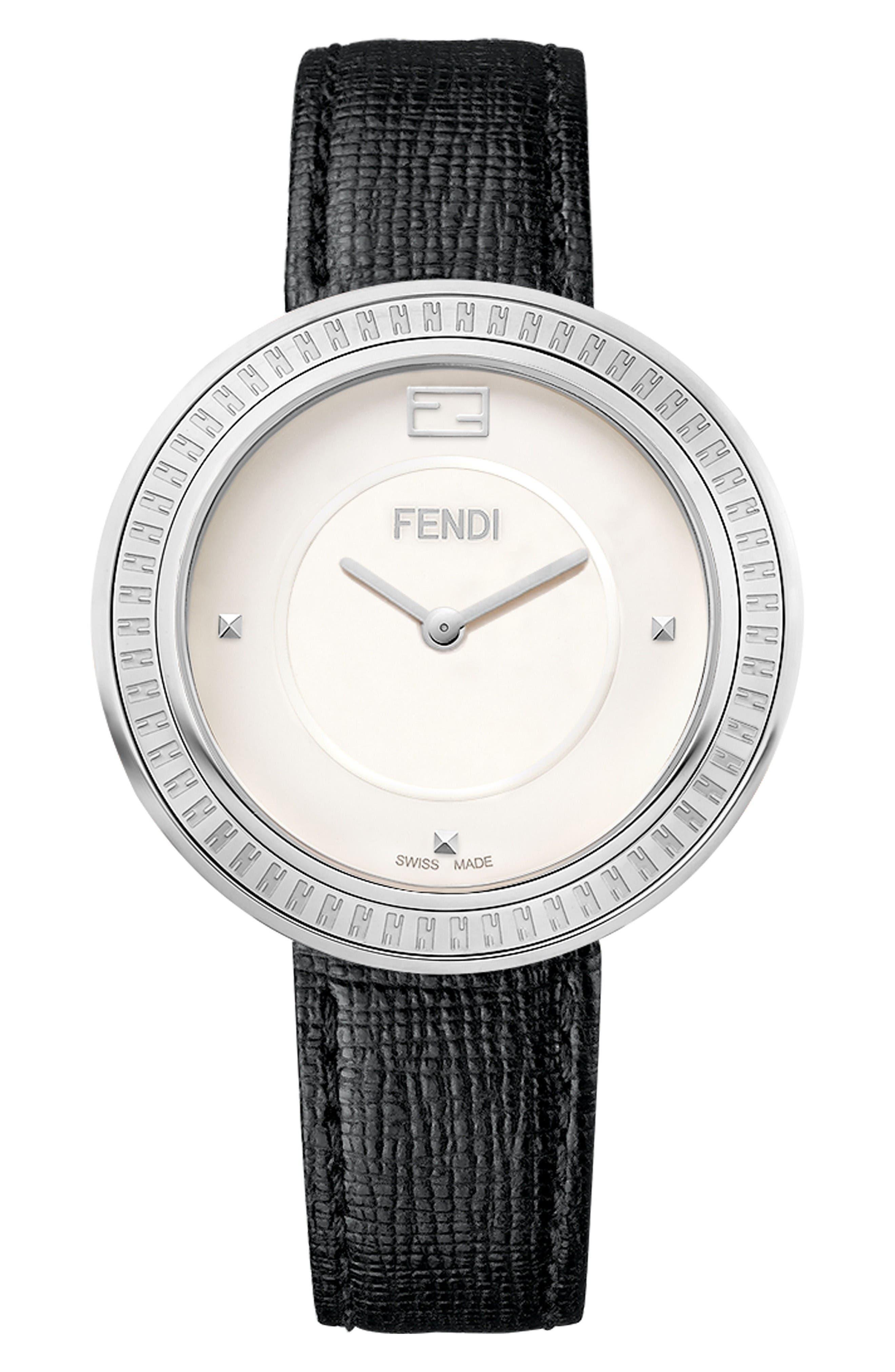 Fendi My Way Genuine Fox Fur Leather Strap Watch, 36mm