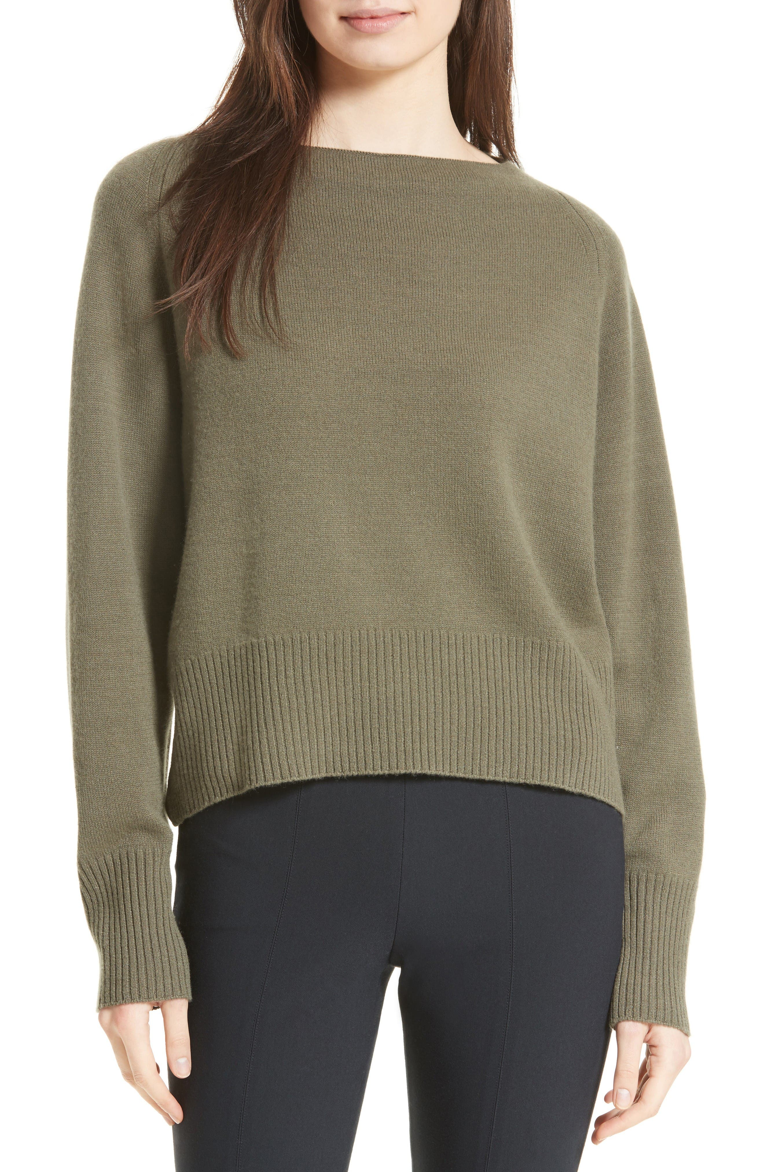 Boat Neck Cashmere Sweater,                         Main,                         color, Olivewood