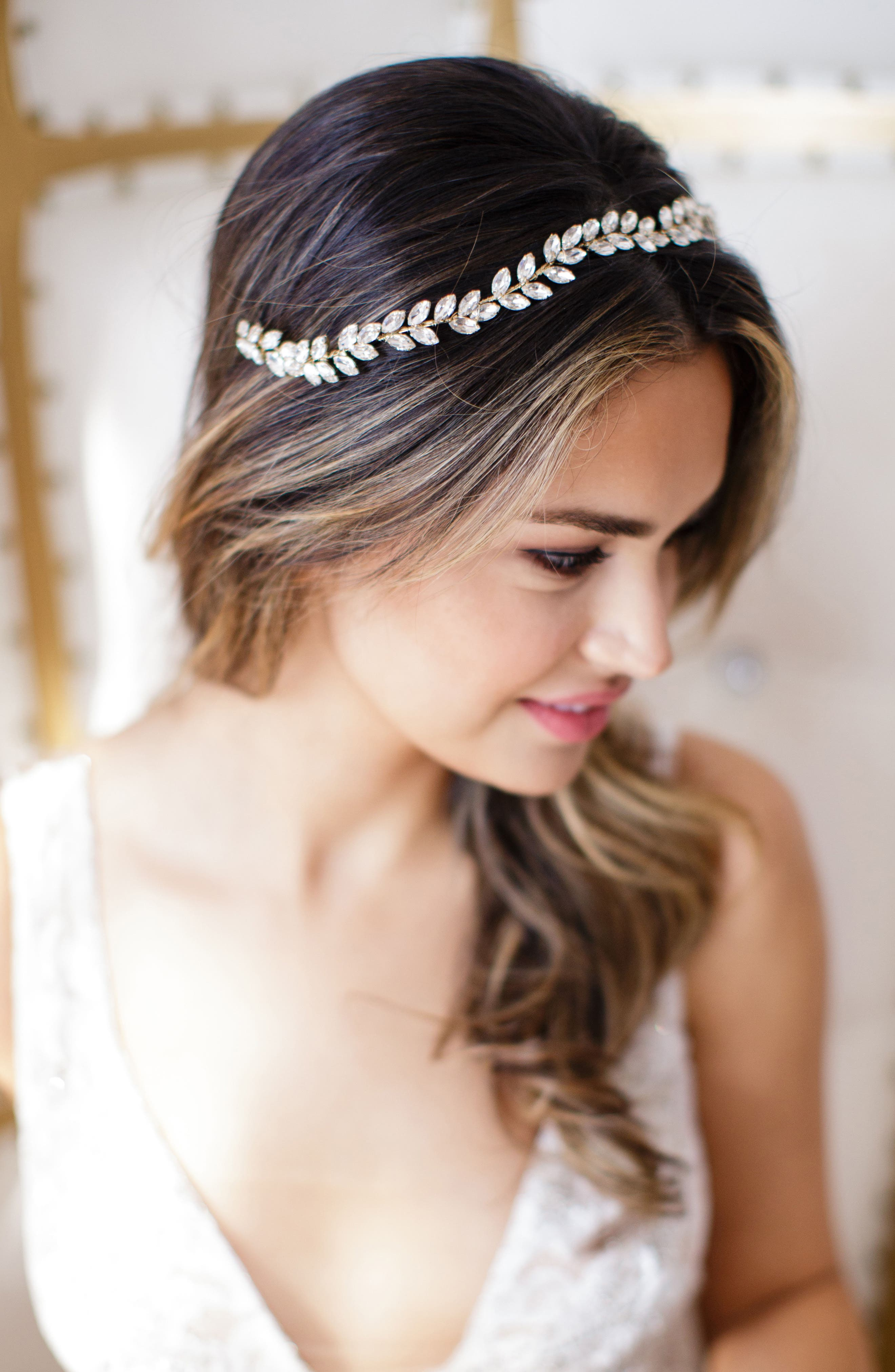 Alternate Image 4  - Brides & Hairpins Alegra Crystal Leaf Halo & Sash