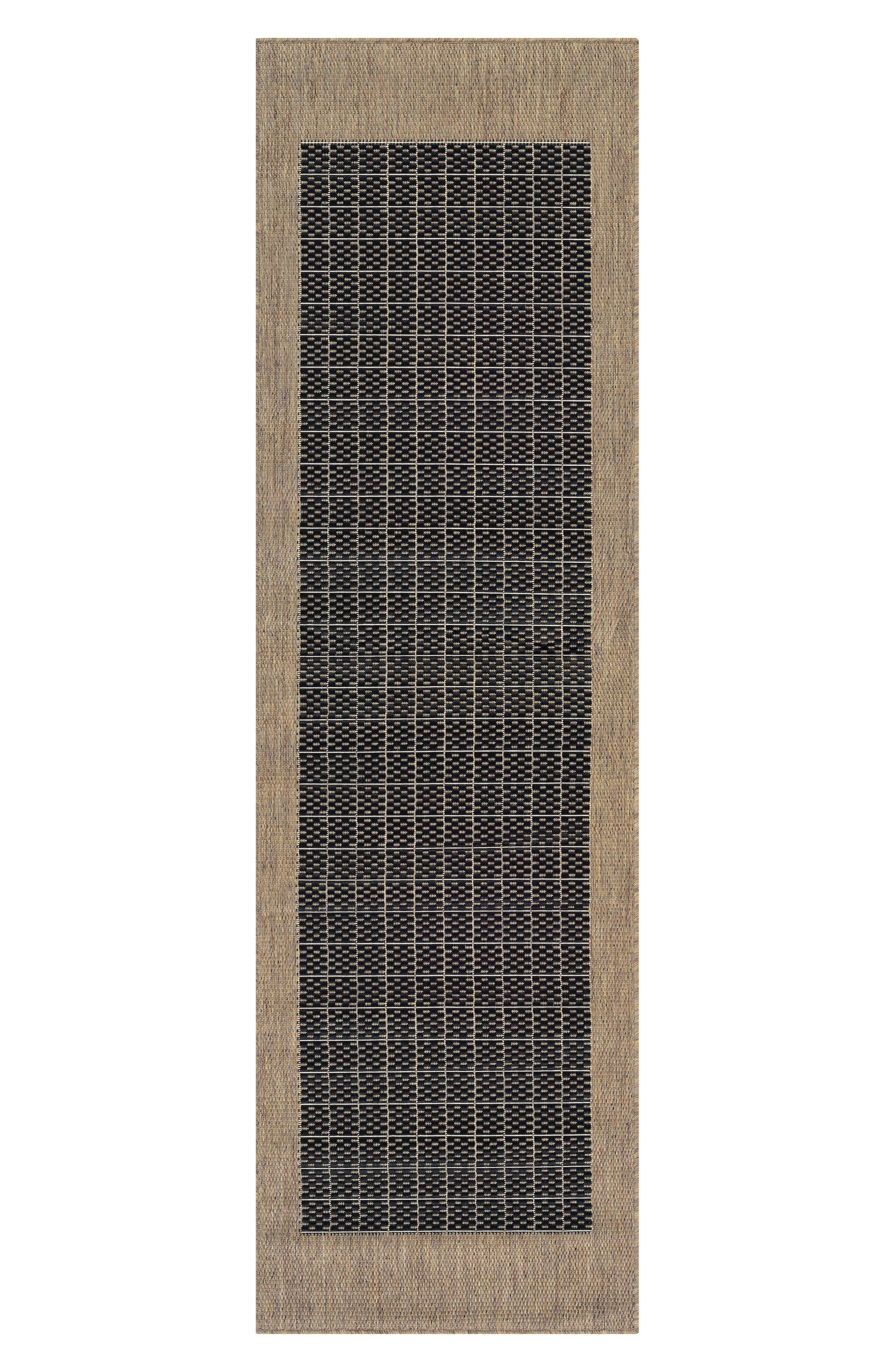 Checkered Field Indoor/Outdoor Rug,                             Alternate thumbnail 2, color,                             Black/ Cocoa