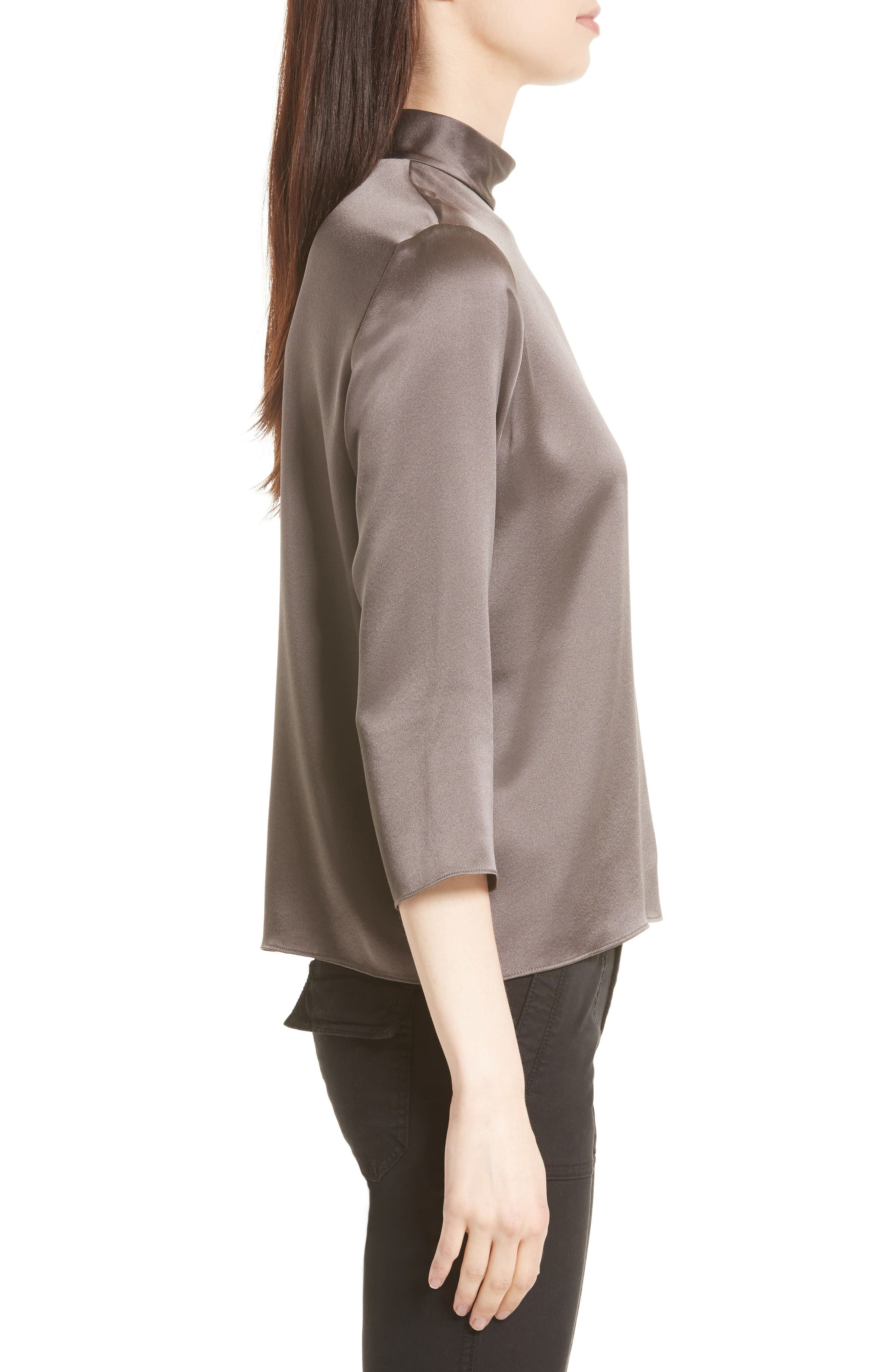 Alternate Image 3  - Vince Mock Neck Silk Satin Blouse