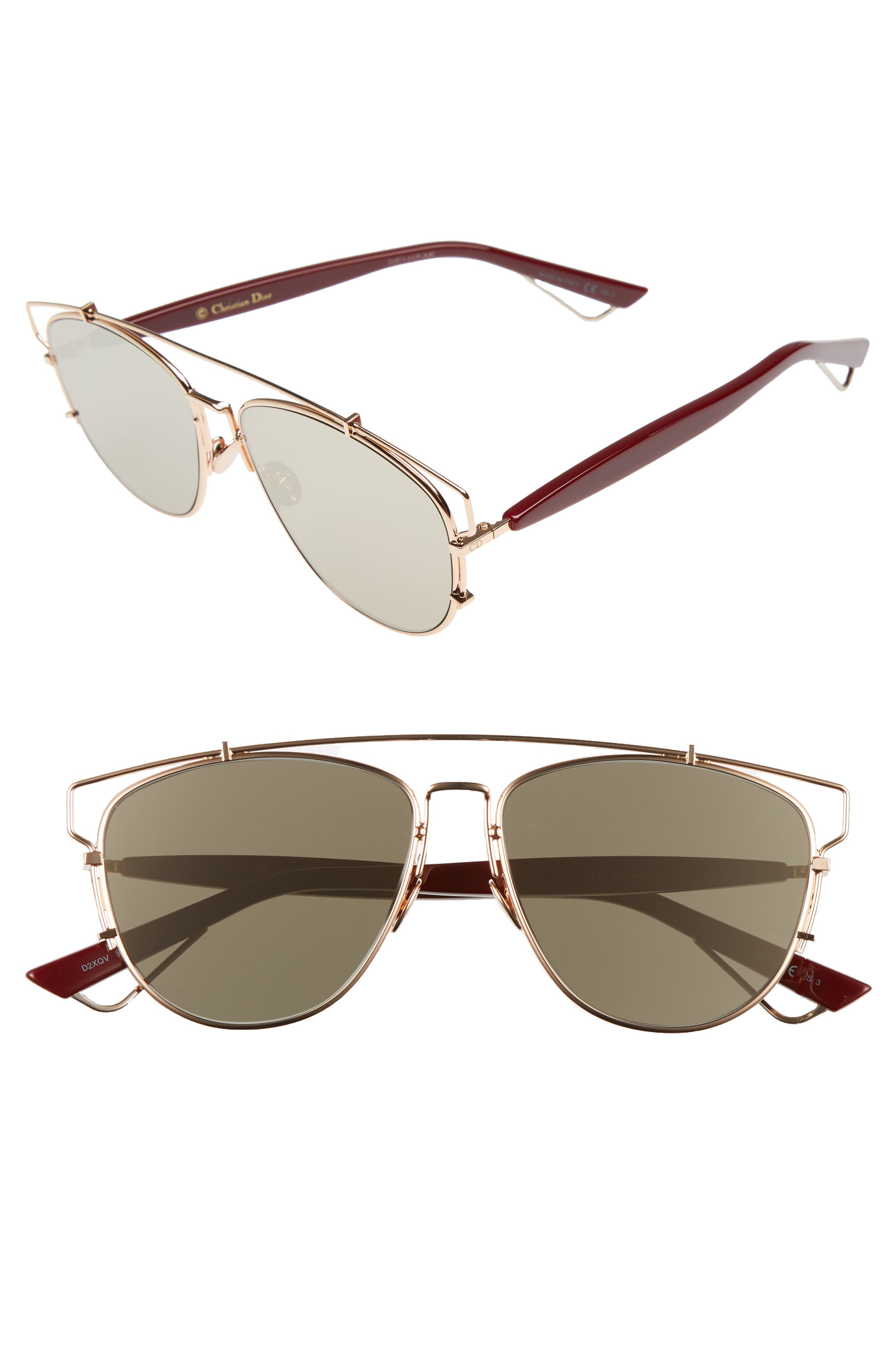 Technologic 57mm Brow Bar Sunglasses,                         Main,                         color, Gold Copper/ Blue