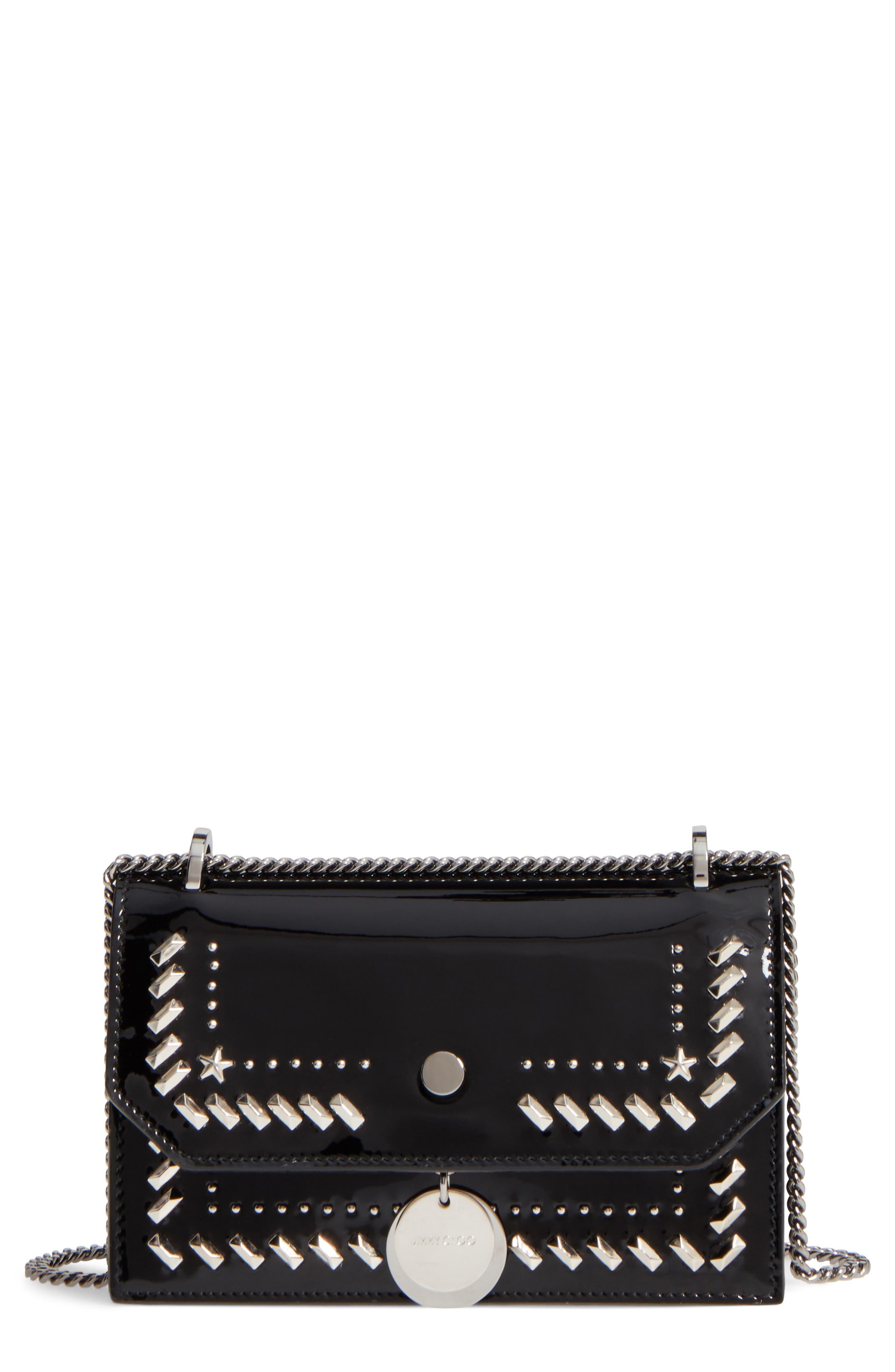 Finley Studded Leather Shoulder Bag,                             Main thumbnail 1, color,                             Black