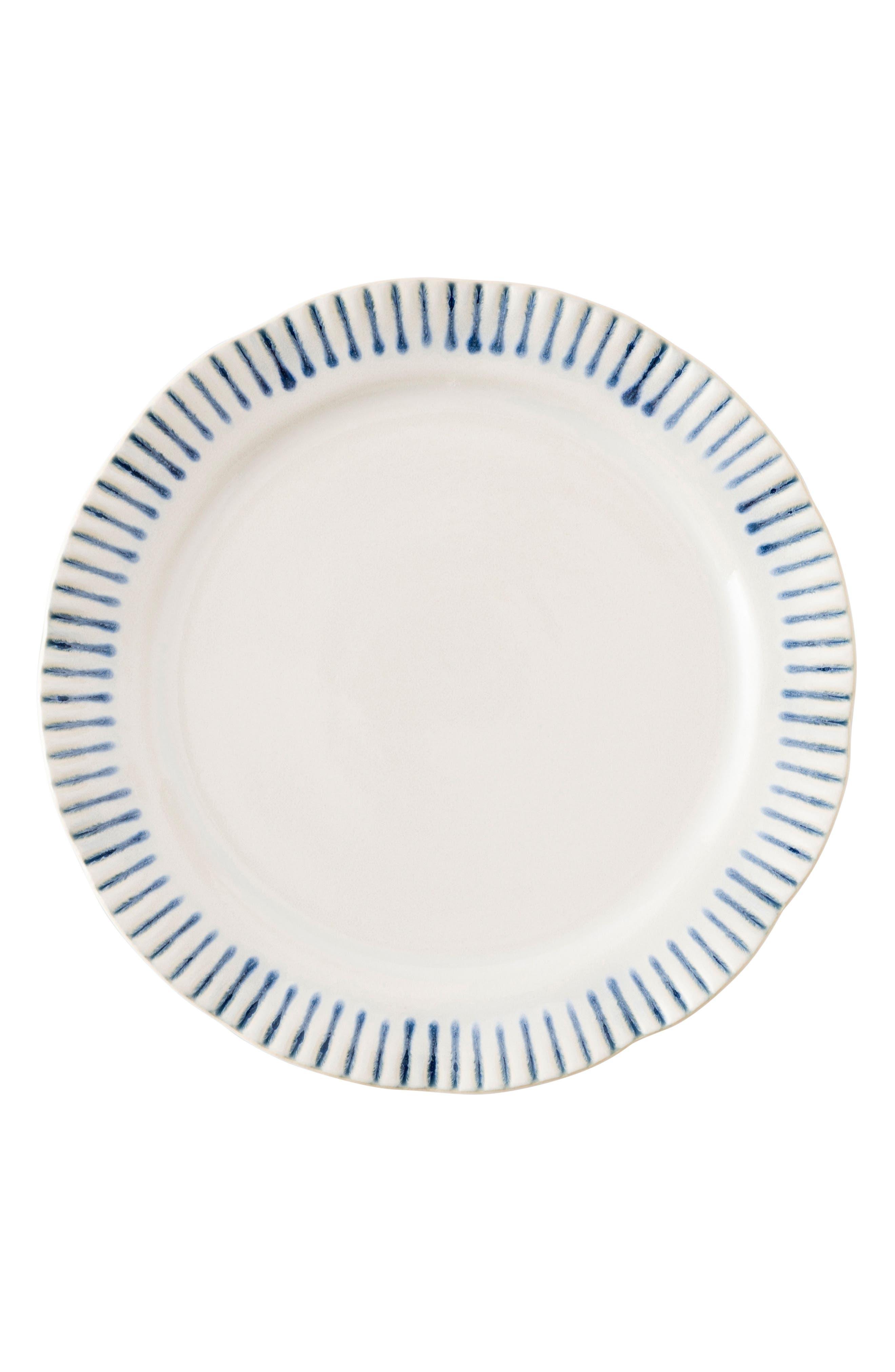 Sitio Stripe Stoneware Salad Plate,                             Main thumbnail 1, color,                             Indigo